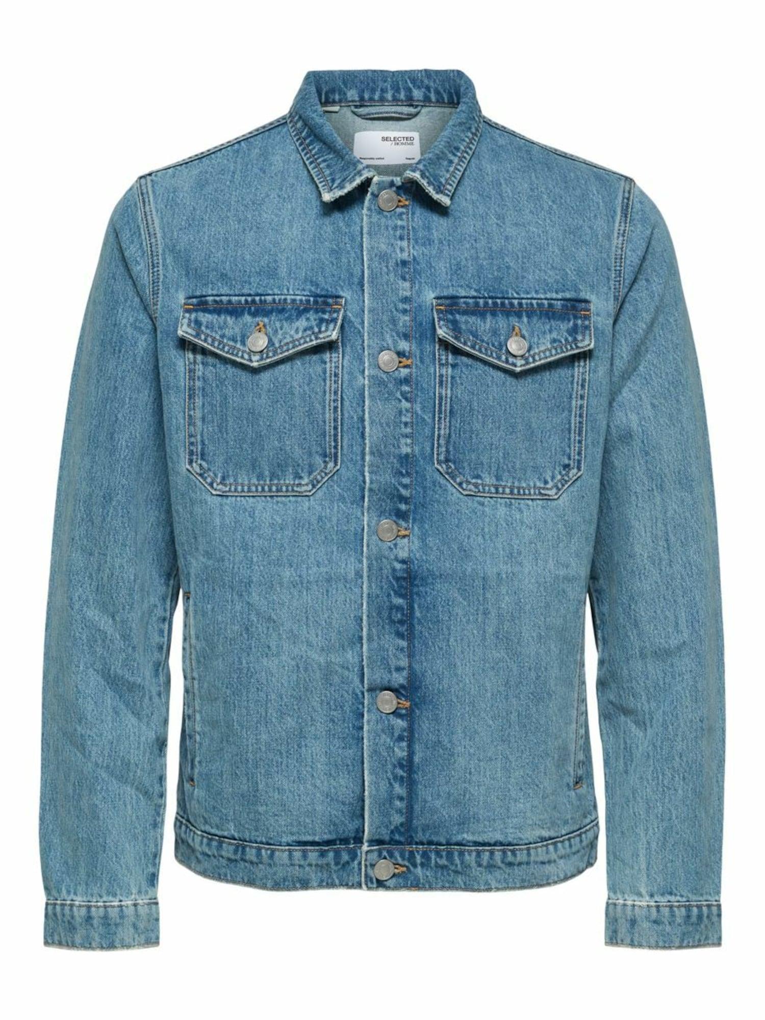 SELECTED HOMME Demisezoninė striukė tamsiai (džinso) mėlyna