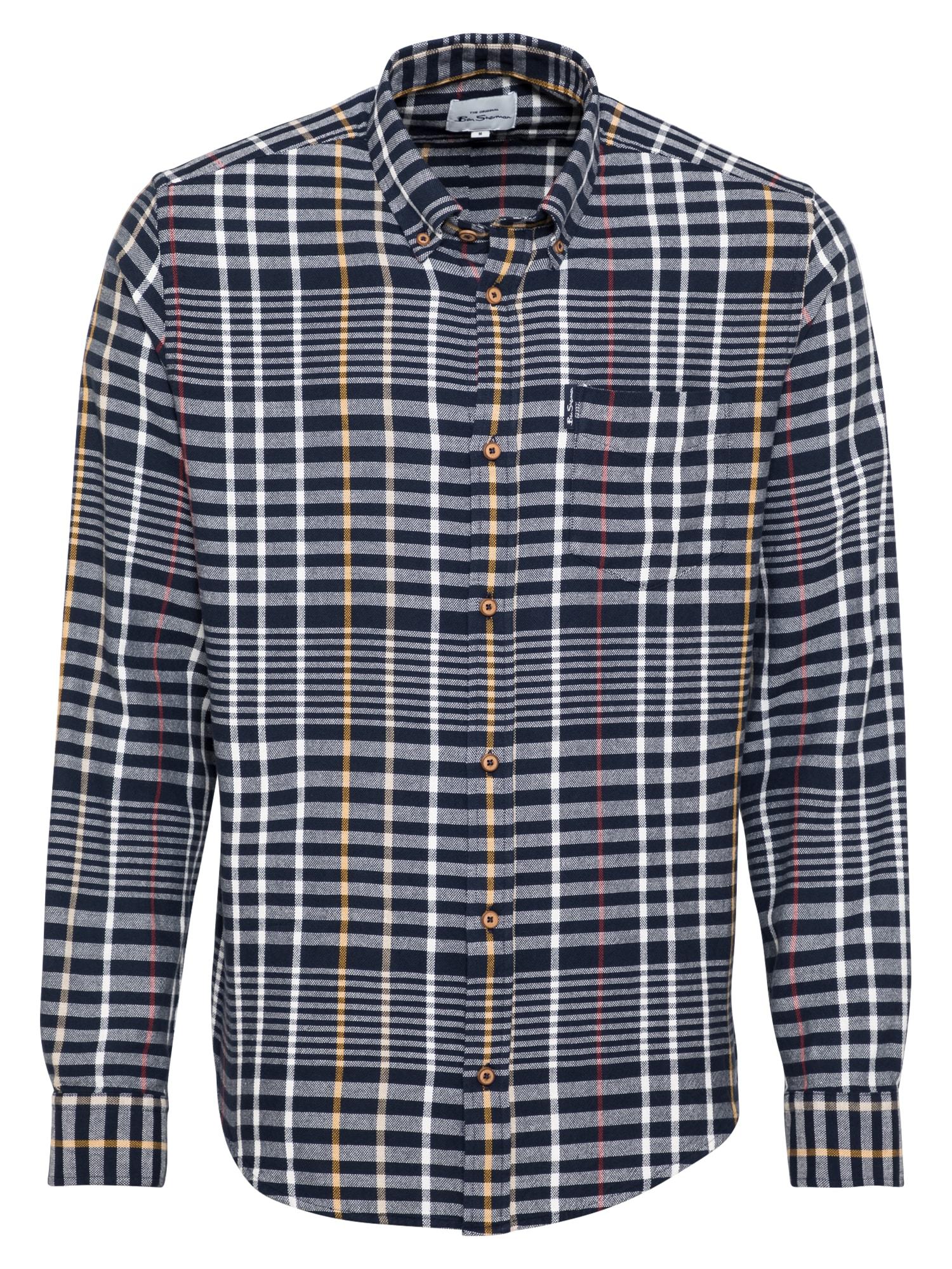 Ben Sherman Marškiniai tamsiai mėlyna / geltona / balta / raudona