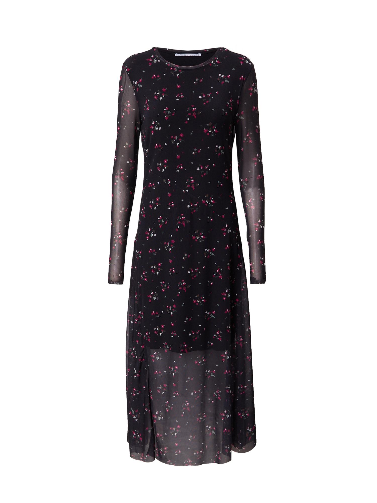 CATWALK JUNKIE Suknelė juoda / tamsiai rožinė / balta / tamsiai žalia