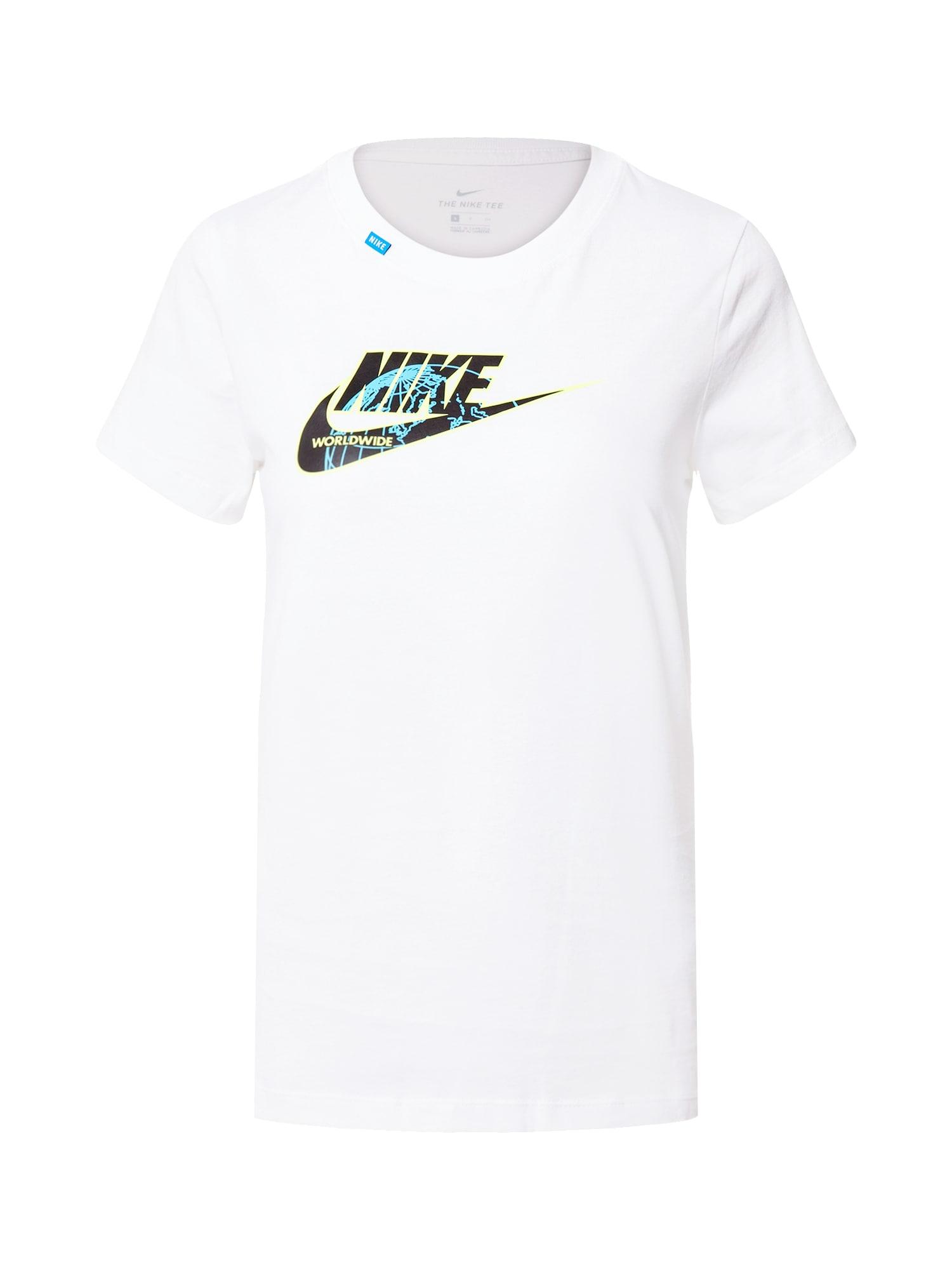 Nike Sportswear Marškinėliai 'Worldwide 1' balta / juoda