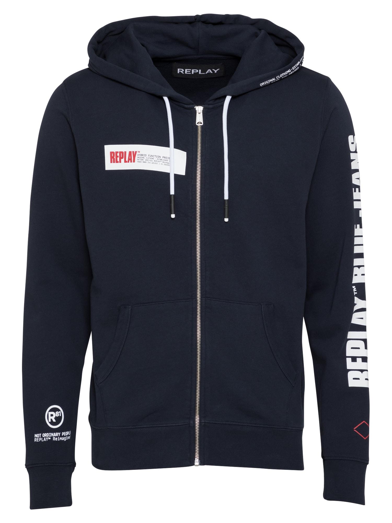 REPLAY Džemperis tamsiai mėlyna / balta / raudona