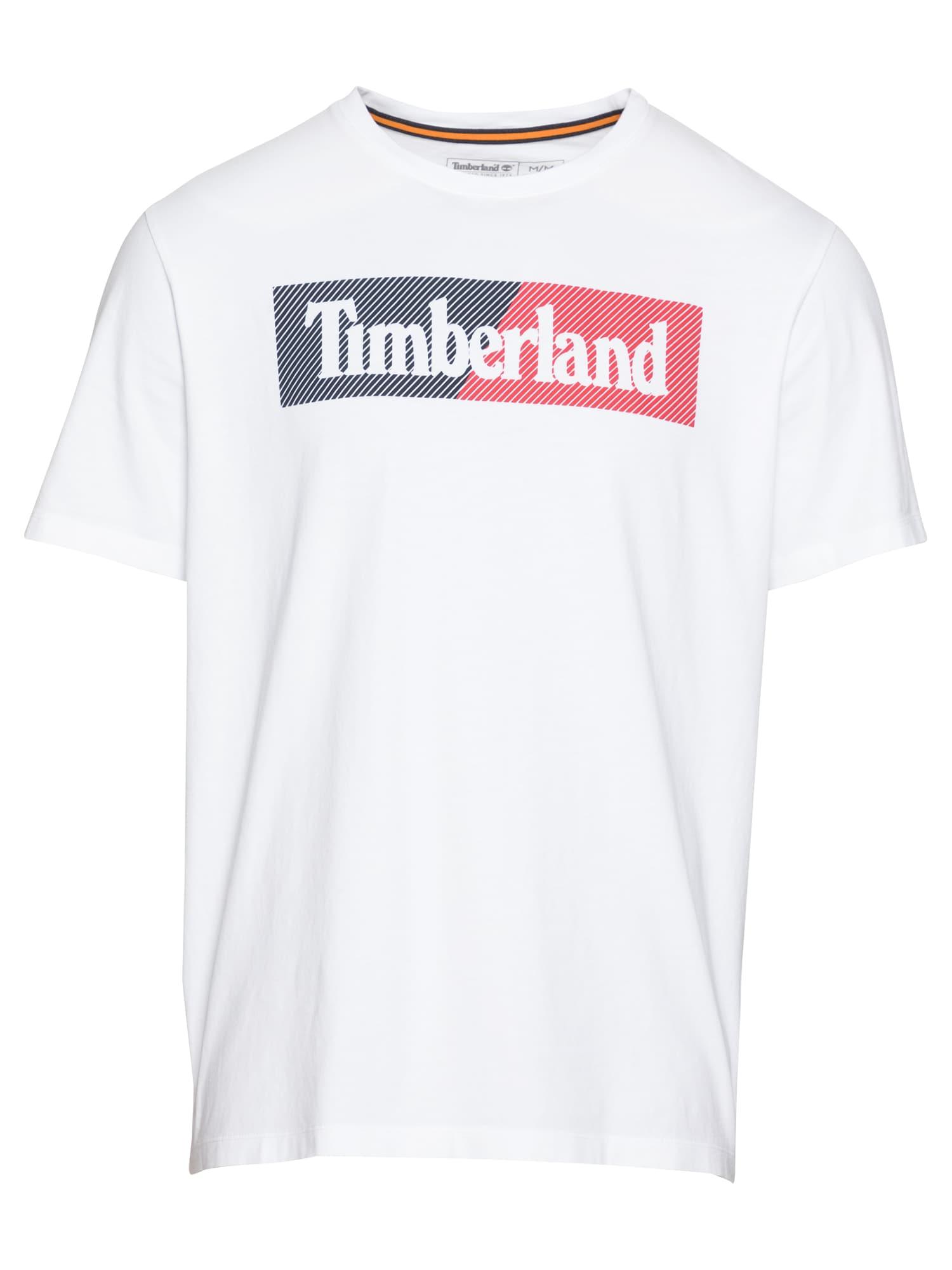 TIMBERLAND Marškinėliai balta / vyšninė spalva / tamsiai mėlyna