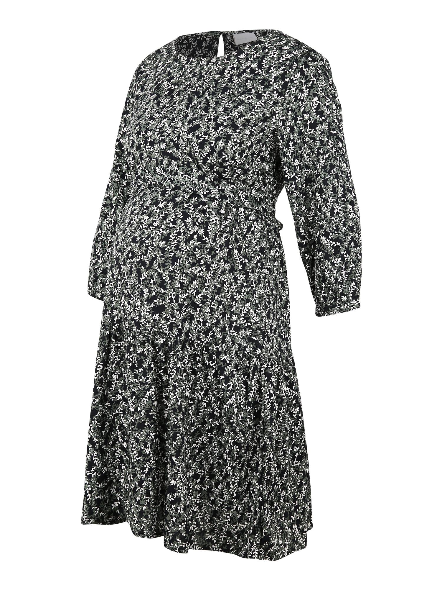MAMALICIOUS Suknelė 'REEBA' juoda / balta / alyvuogių spalva
