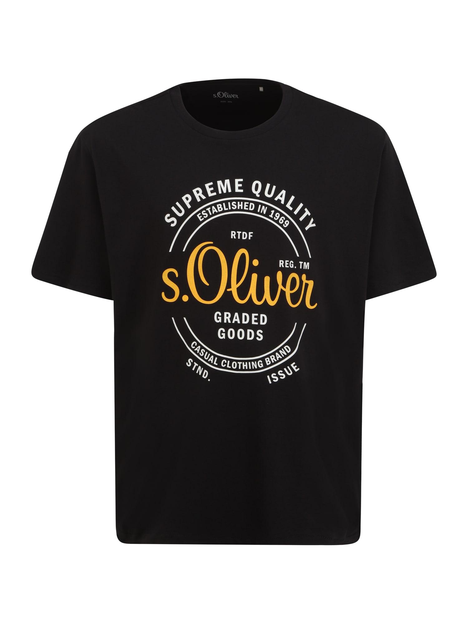 s.Oliver Red Label Big & Tall Marškinėliai juoda / geltona / balta