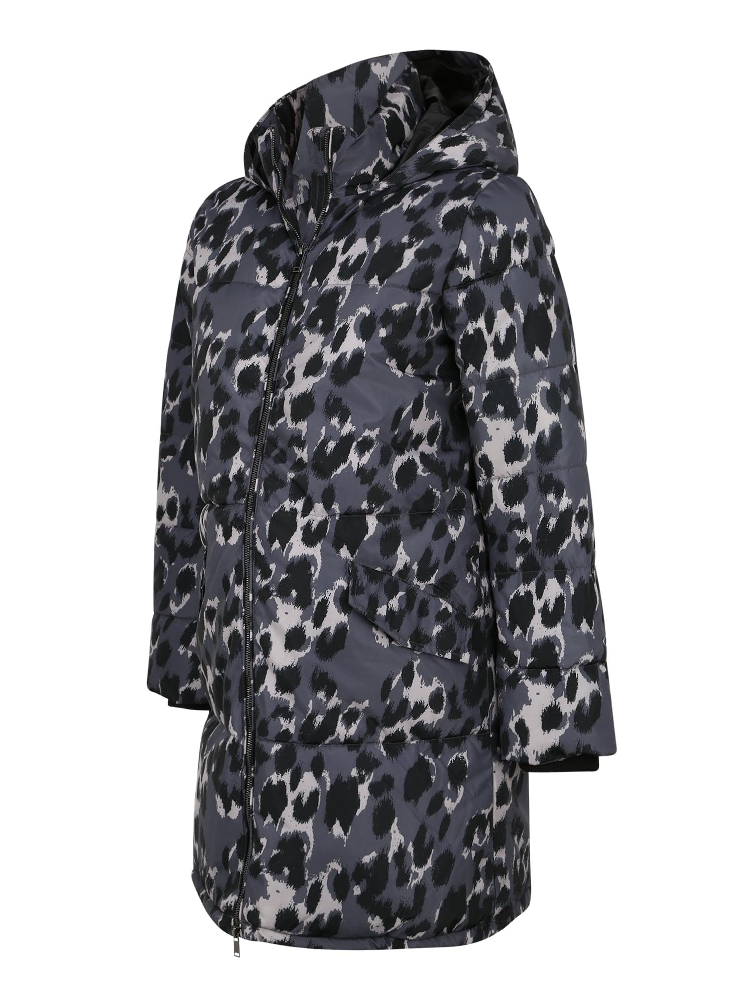 MAMALICIOUS Demisezoninis paltas juoda / balta / mėlyna dūmų spalva