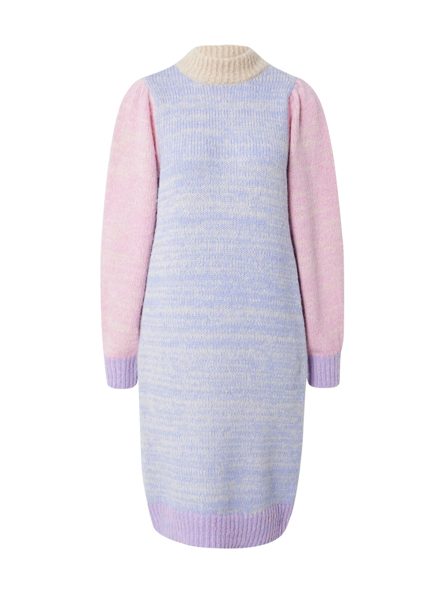 PIECES Úpletové šaty 'ELISIA'  lenvandulová / růžová / světle žlutá / světle fialová