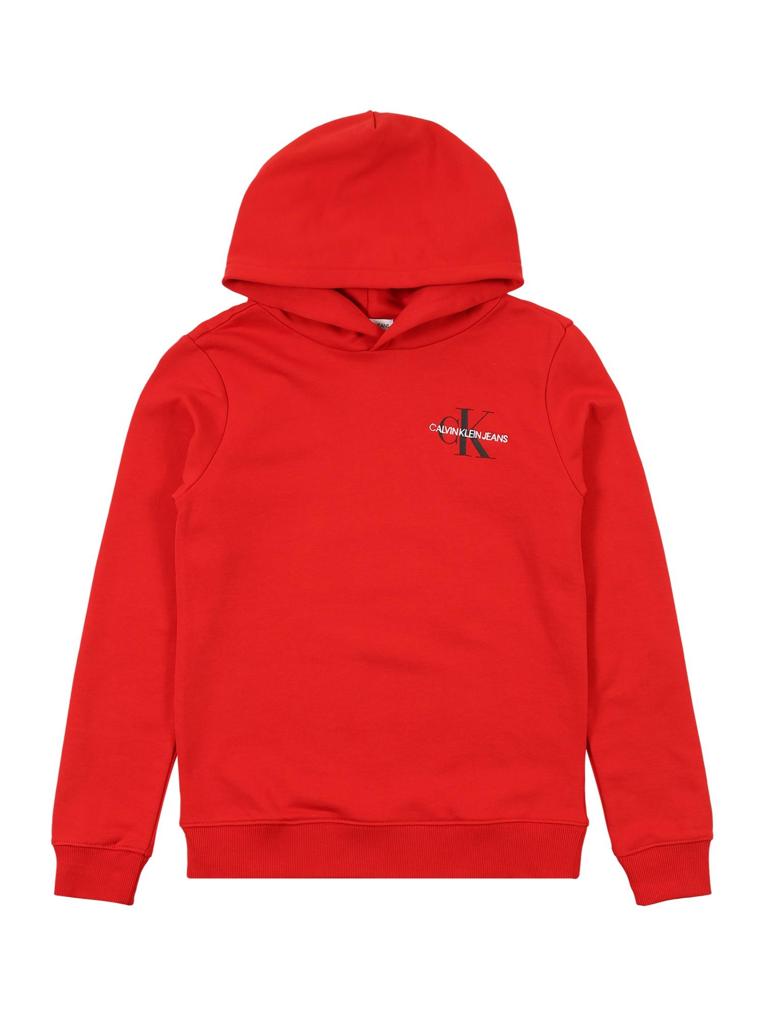 Calvin Klein Jeans Megztinis be užsegimo 'SMALL MONOGRAM' raudona