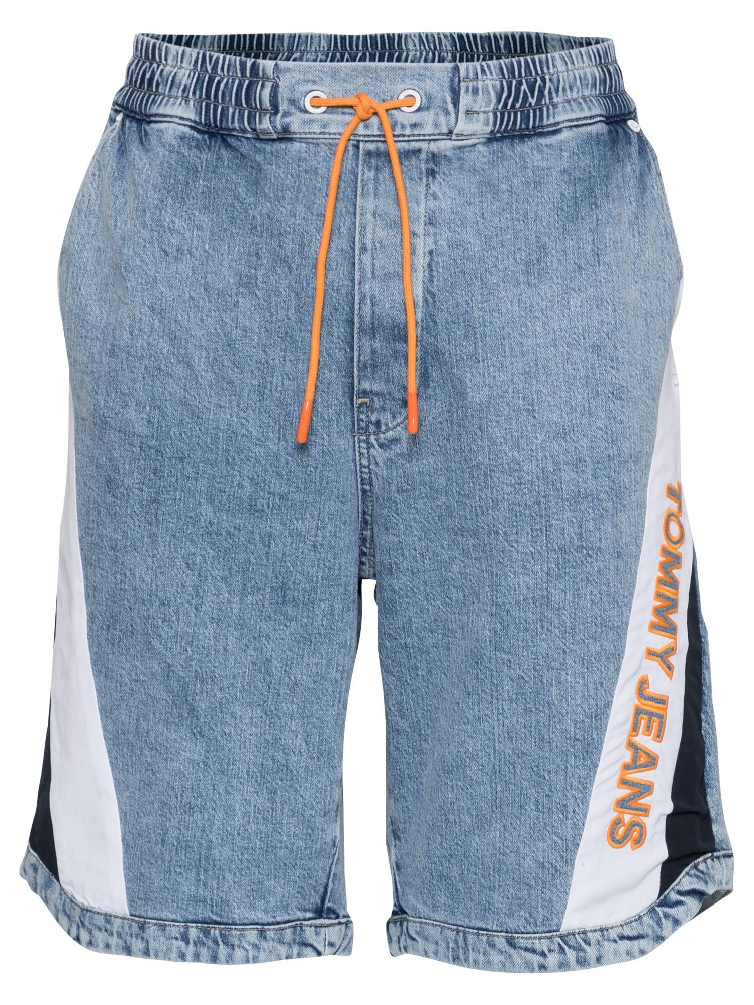 Tommy Jeans Džinsai tamsiai (džinso) mėlyna / tamsiai mėlyna jūros spalva / balta / oranžinė