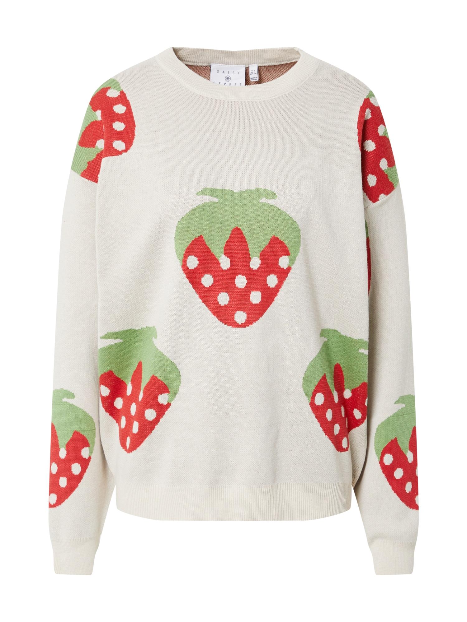 Daisy Street Megztinis balta / šviesiai raudona / šviesiai žalia