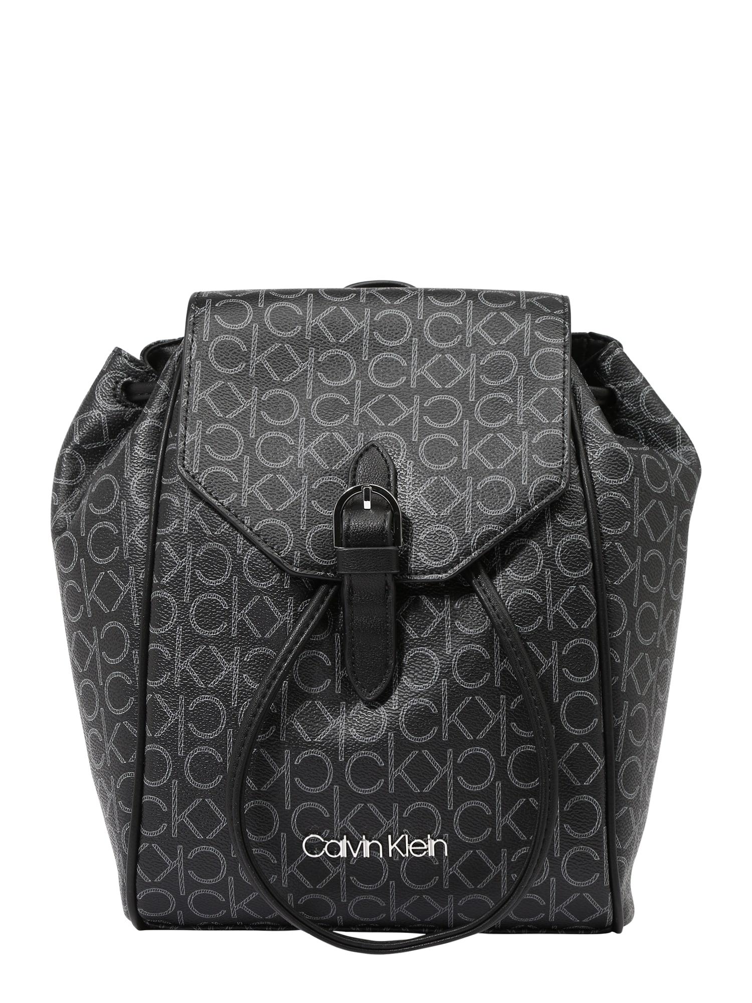 Calvin Klein Batoh  tmavě šedá / bílá