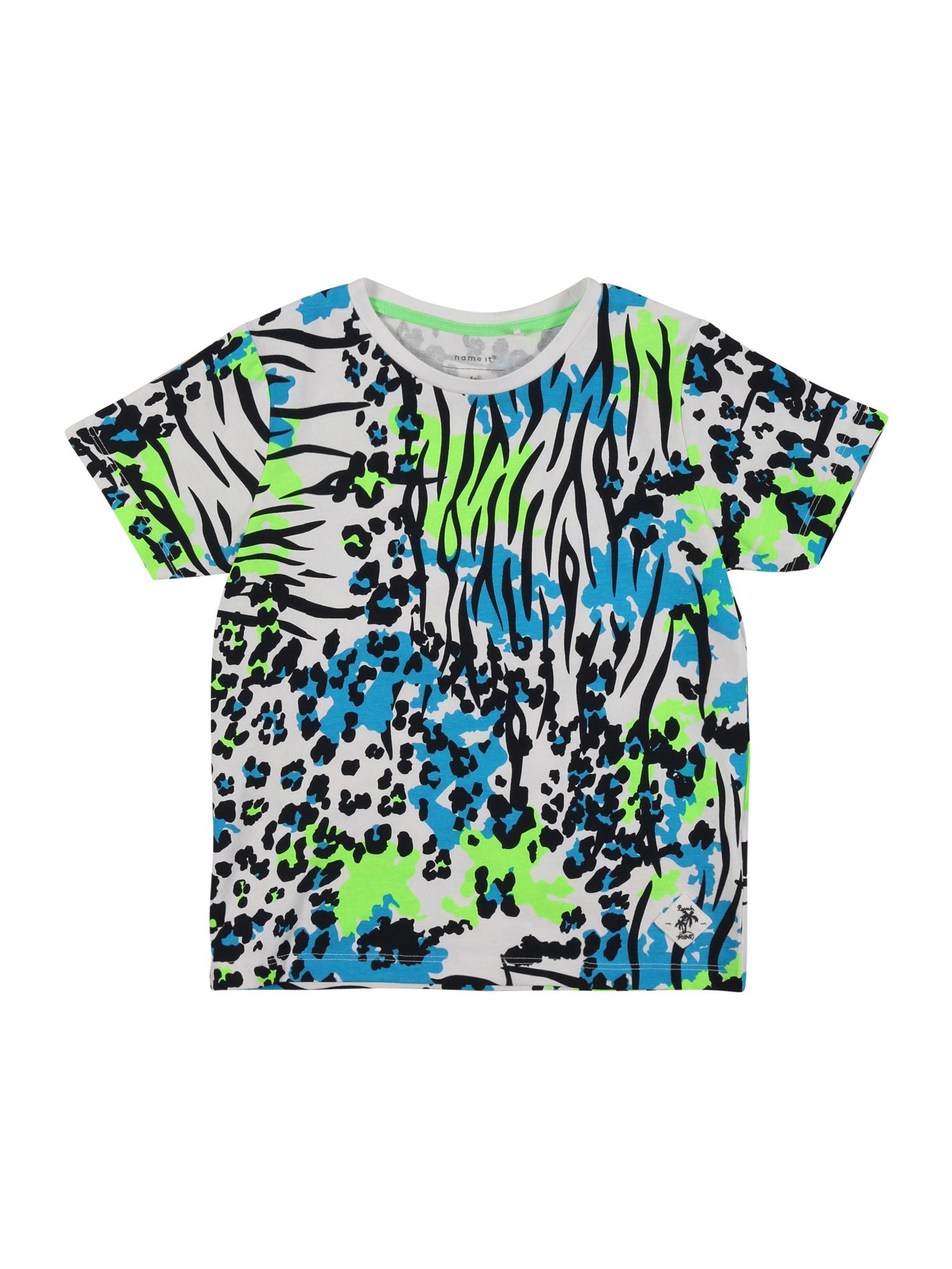 NAME IT Tričko  světlemodrá / světle zelená / bílá / ultramarínová modř
