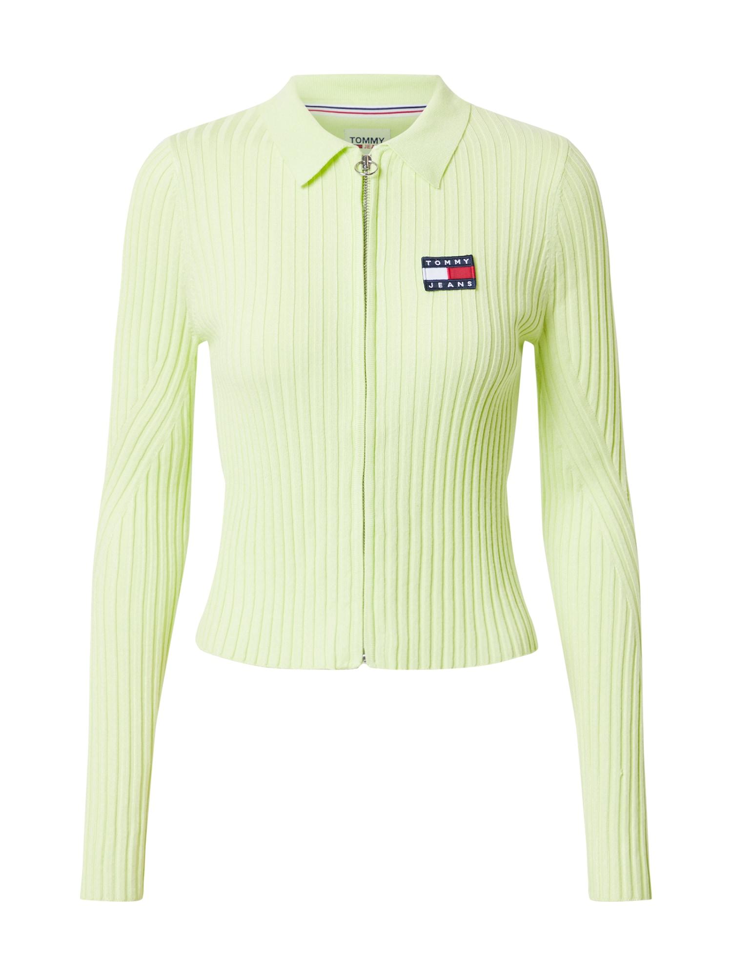 Tommy Jeans Džemperis pastelinė žalia / tamsiai mėlyna / balta / šviesiai raudona