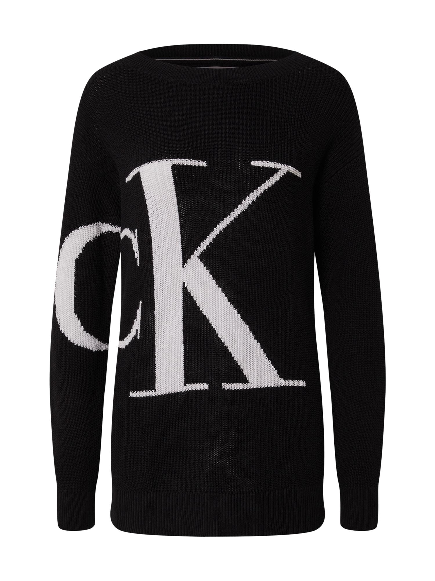 Calvin Klein Jeans Laisvas megztinis juoda / balta