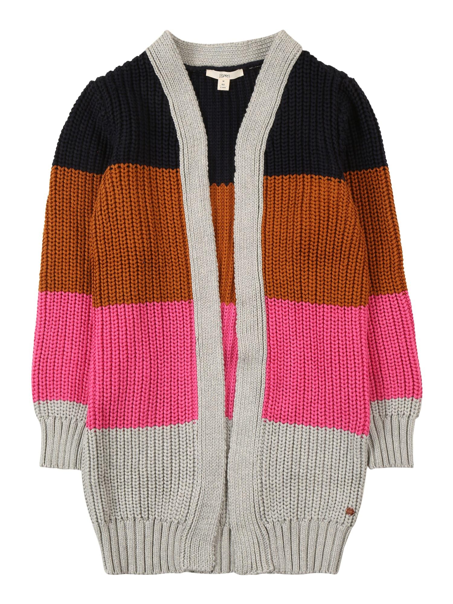 ESPRIT Kardigan  námořnická modř / karamelová / pink / šedá
