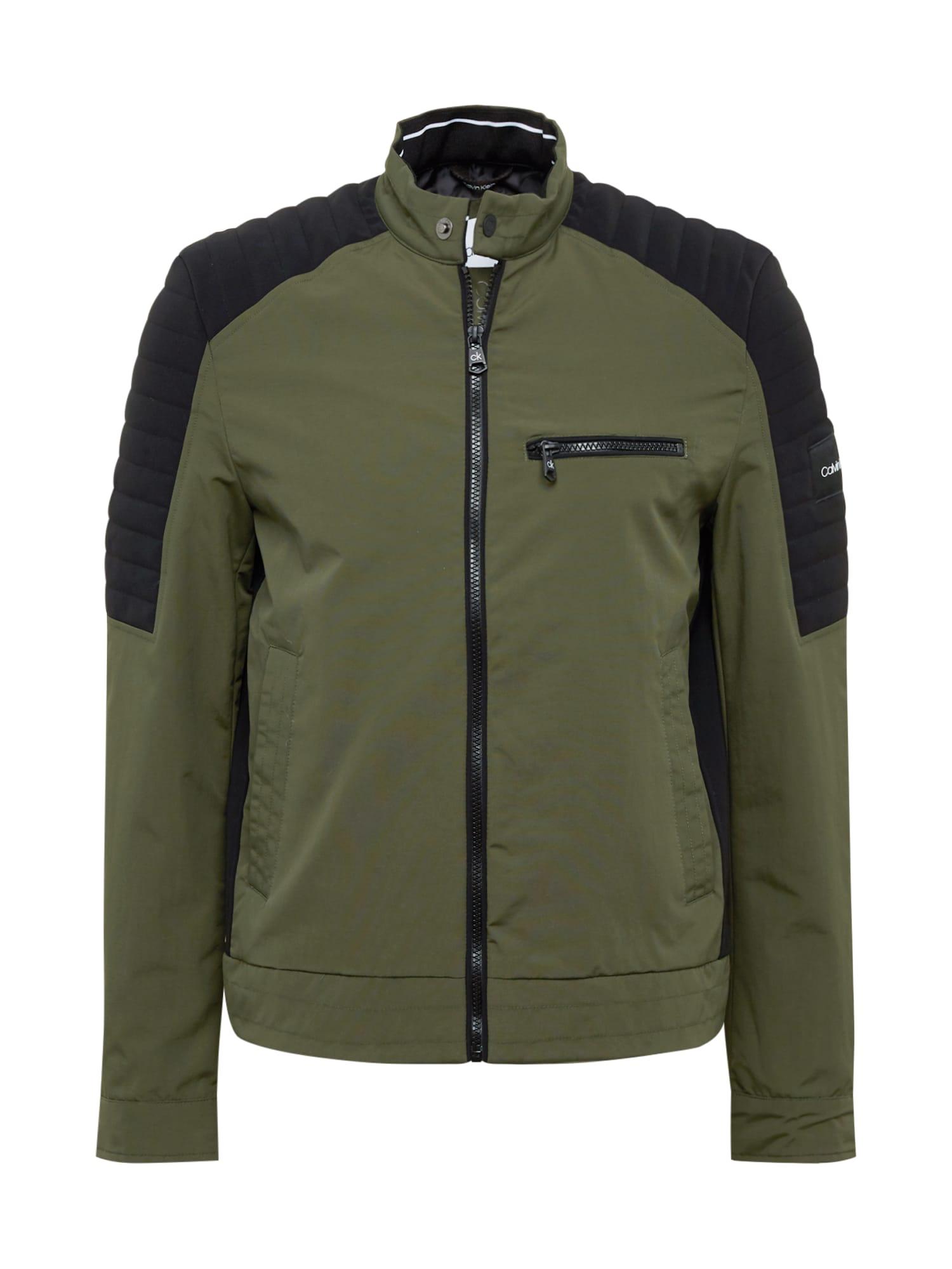 Calvin Klein Prechodná bunda  čierna / zelená