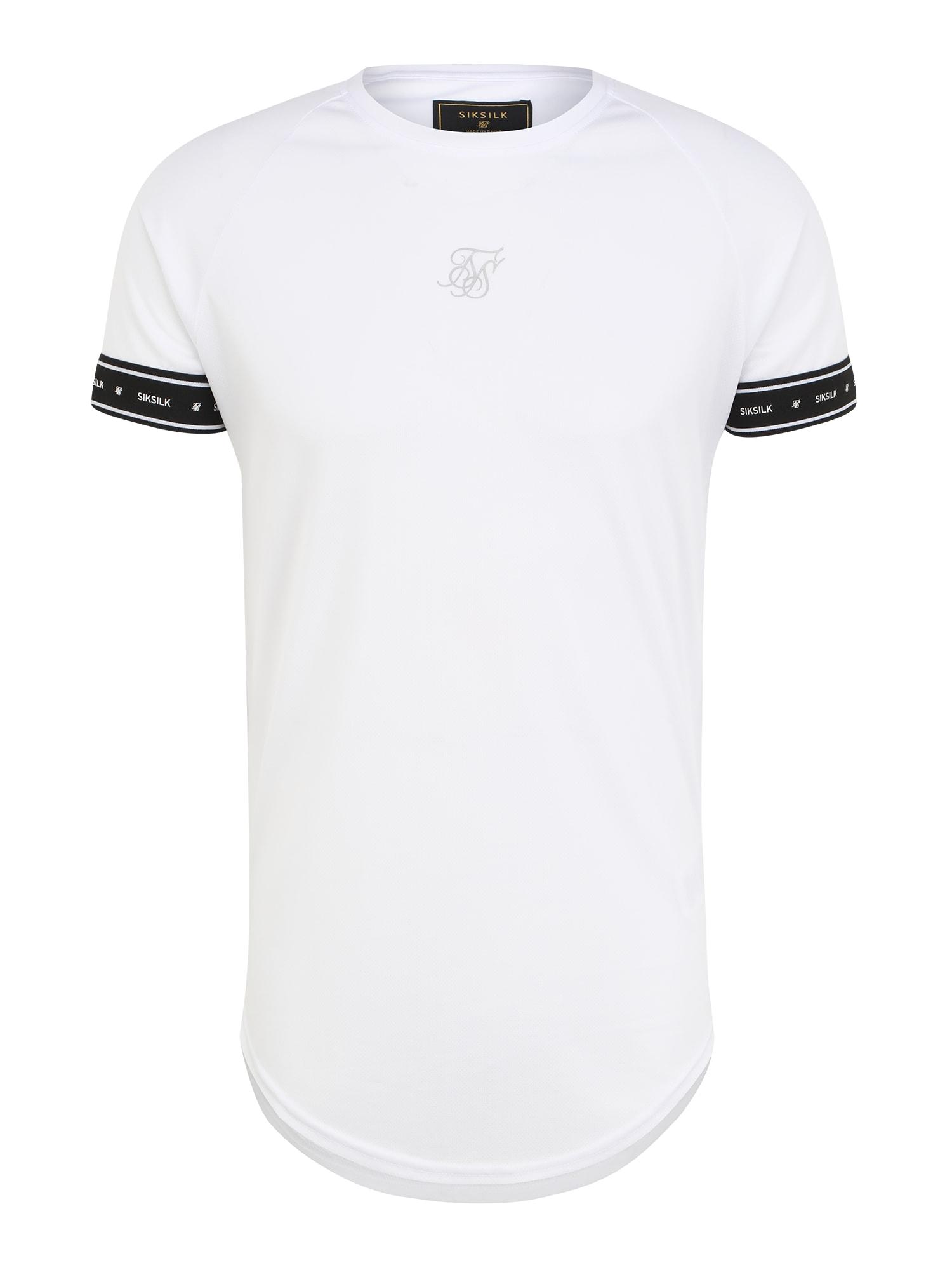 SikSilk Marškinėliai balta / juoda / pilka