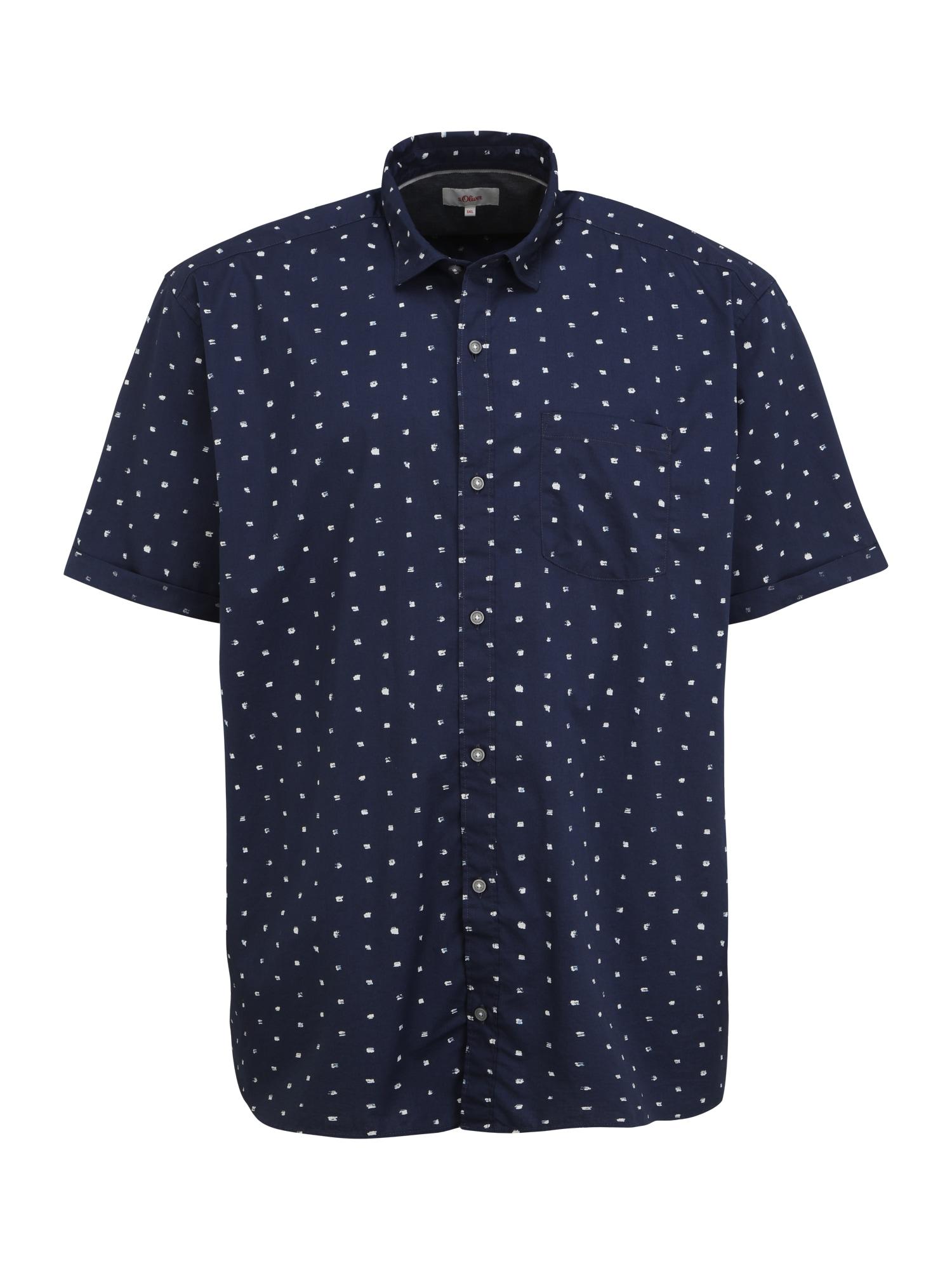 s.Oliver Red Label Big & Tall Marškiniai tamsiai mėlyna / balta