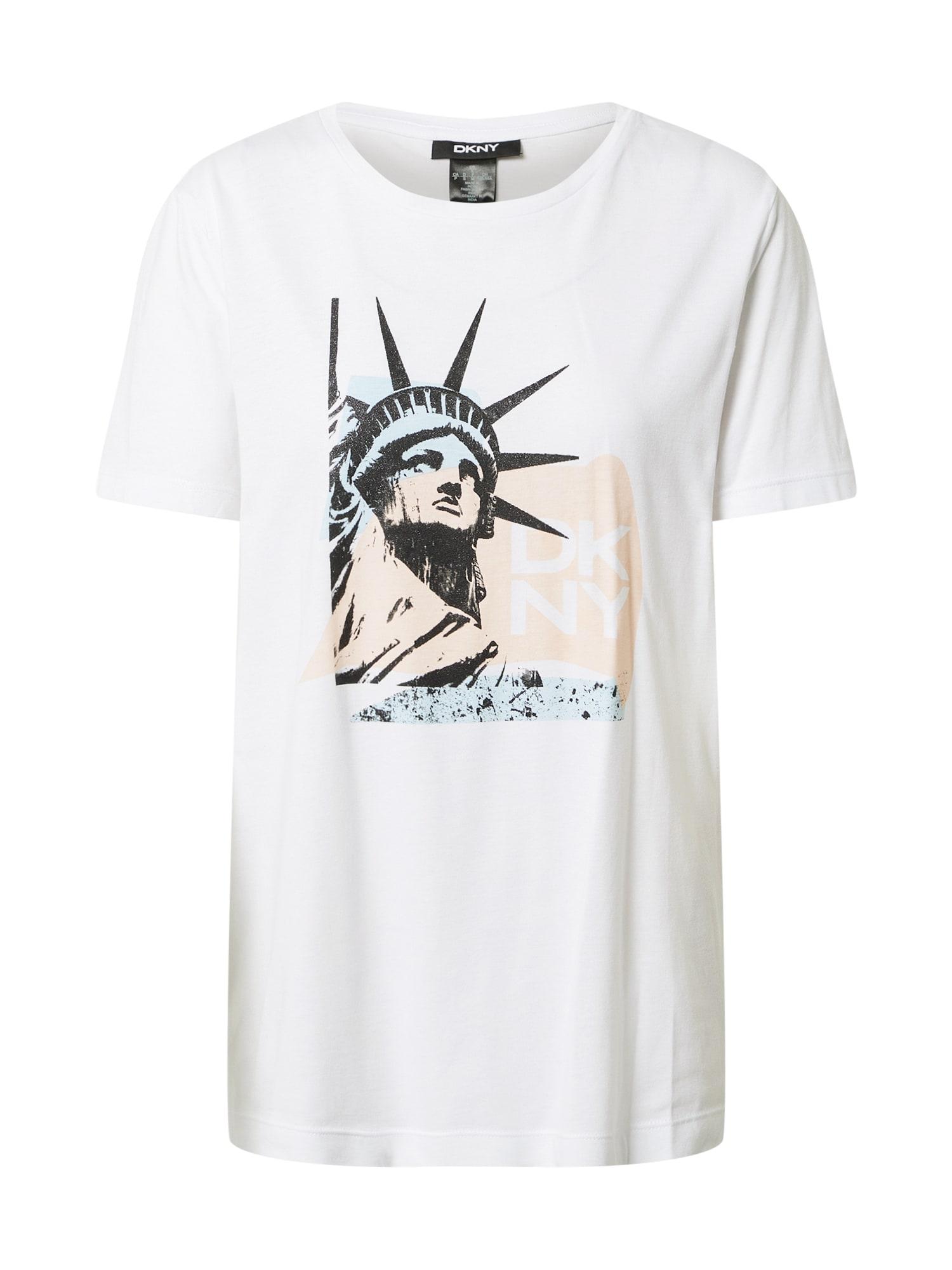 DKNY Marškinėliai balta / juoda / pastelinė oranžinė / opalo