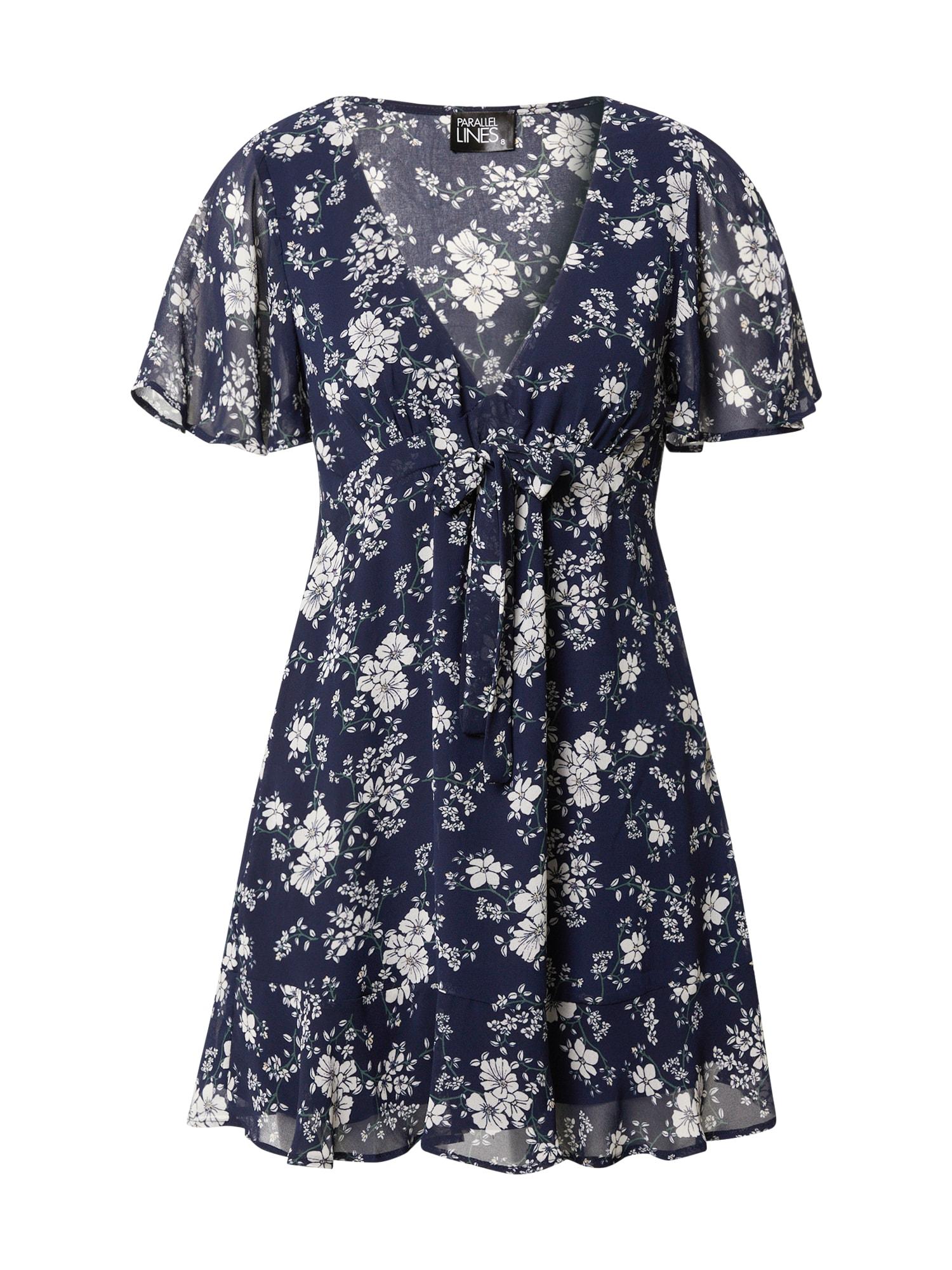 Parallel Lines Vasarinė suknelė tamsiai mėlyna jūros spalva / kremo / žolės žalia / šviesiai violetinė