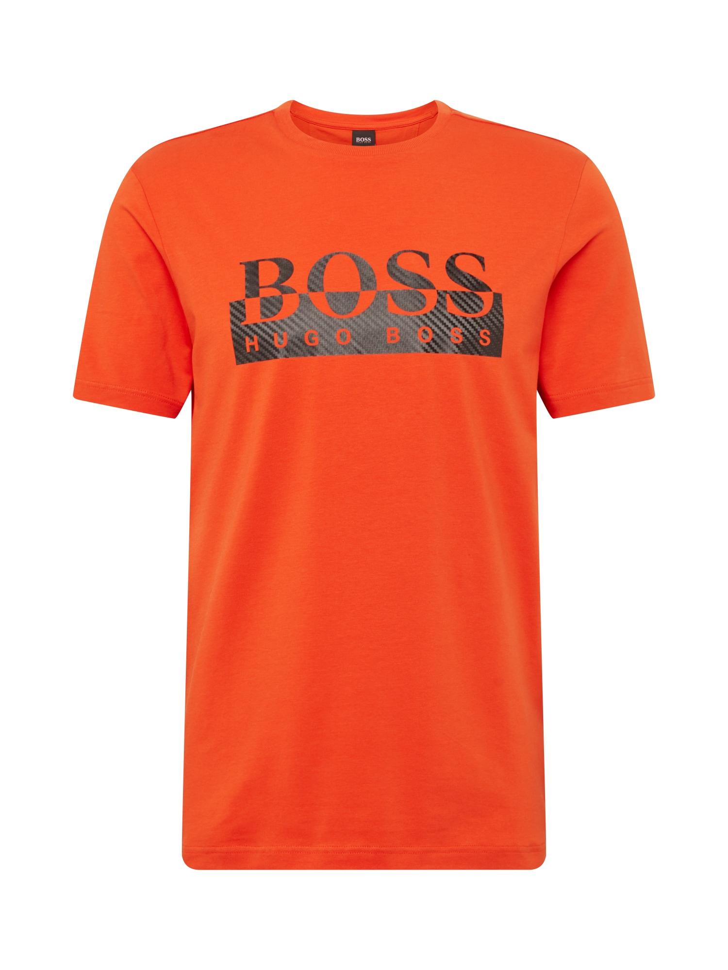 BOSS ATHLEISURE Marškinėliai tamsiai oranžinė / juoda