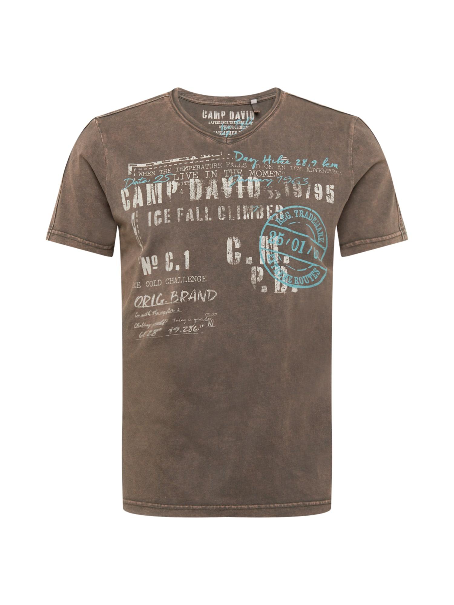 CAMP DAVID Marškinėliai ruda / balta / šviesiai mėlyna