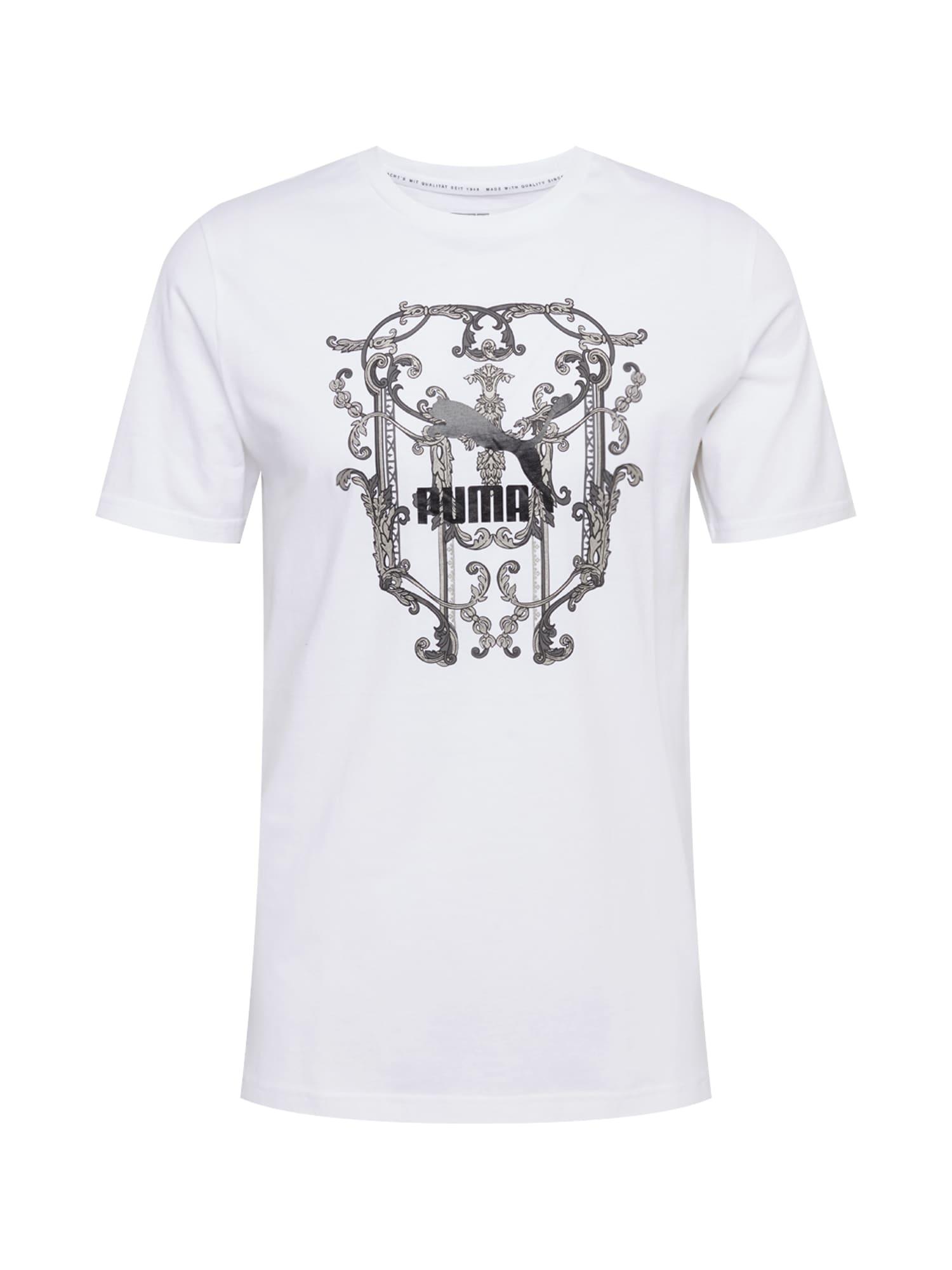 PUMA Tričko 'NULUXE'  bílá / černá / šedá
