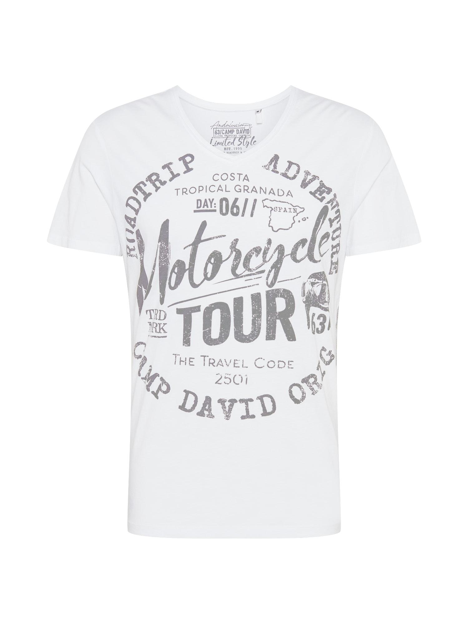 CAMP DAVID Marškinėliai balta / antracito