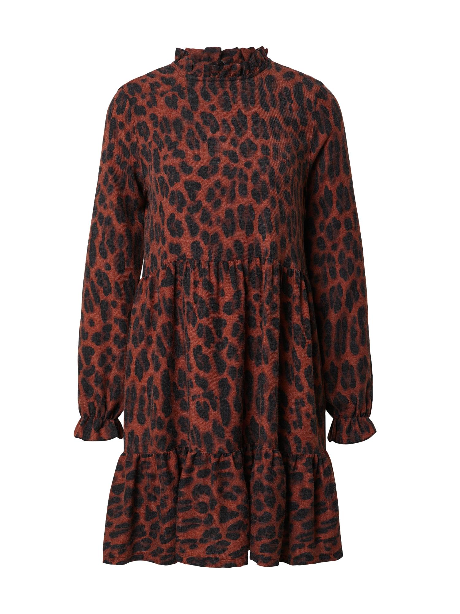 DeFacto Suknelė rūdžių raudona / juoda / skaisti avietinė ar rubino spalva