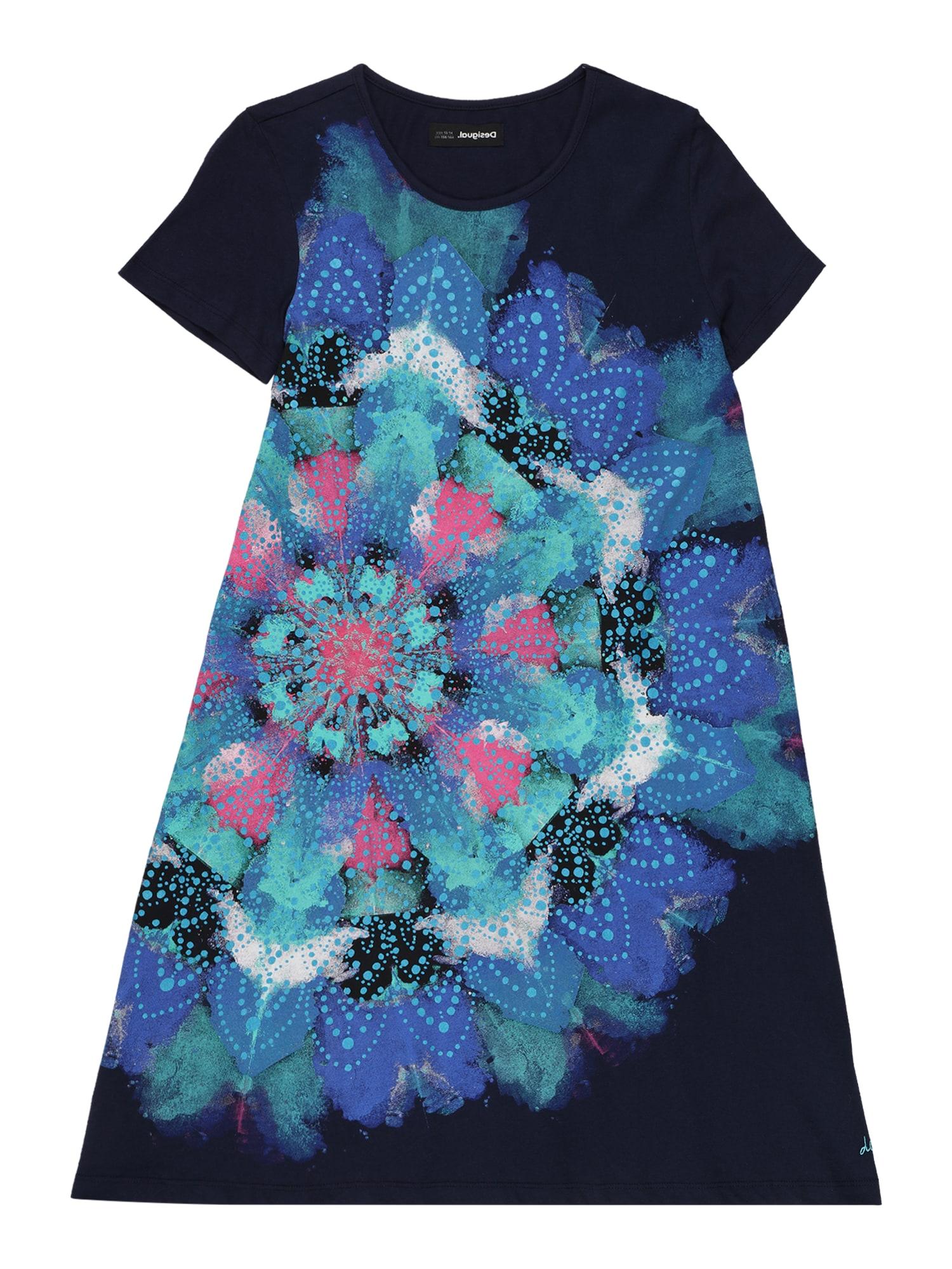 """Desigual Suknelė tamsiai mėlyna / turkio spalva / rožinė / sodri mėlyna (""""karališka"""") / balta"""