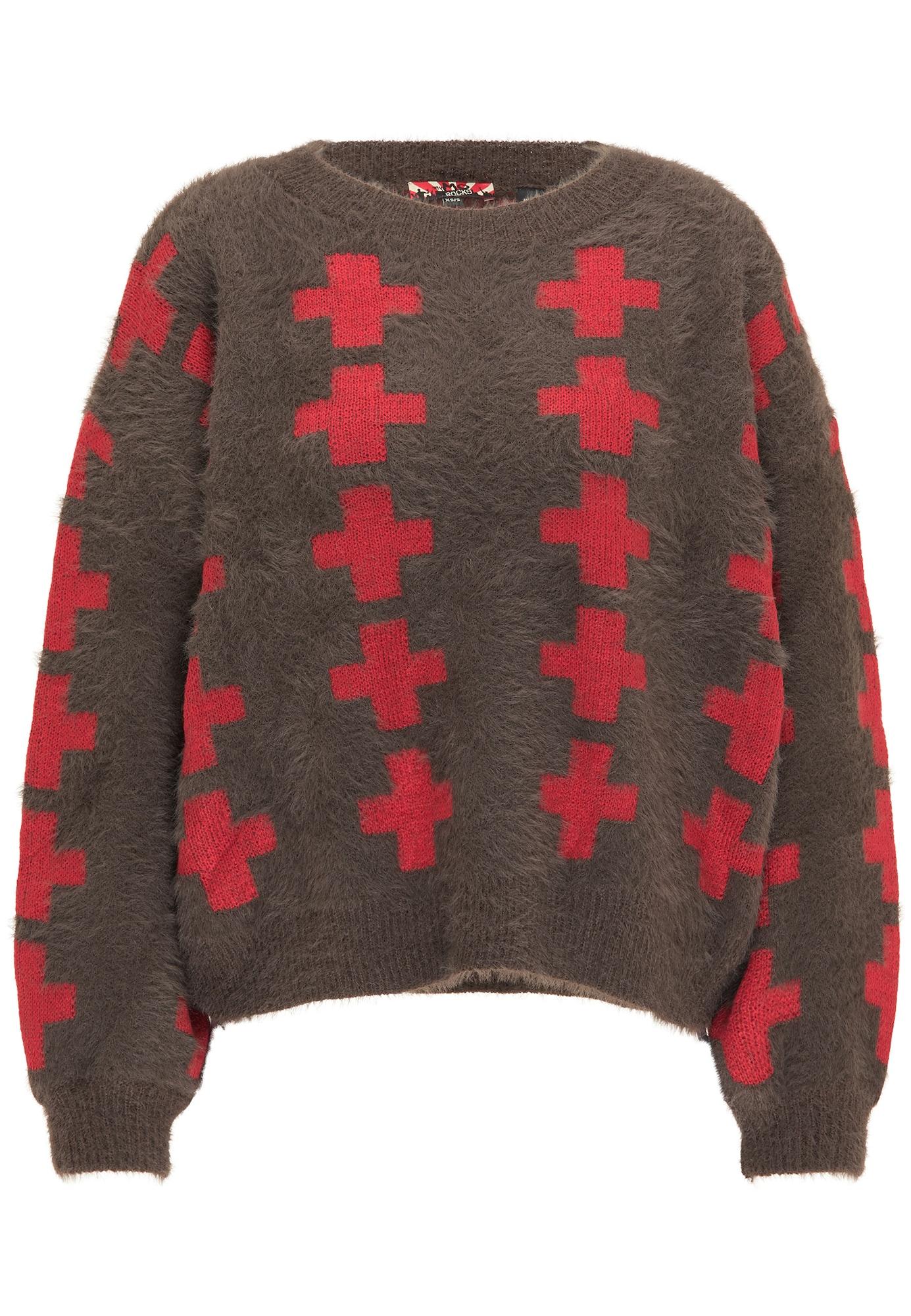 myMo ROCKS Laisvas megztinis šokolado spalva / raudona