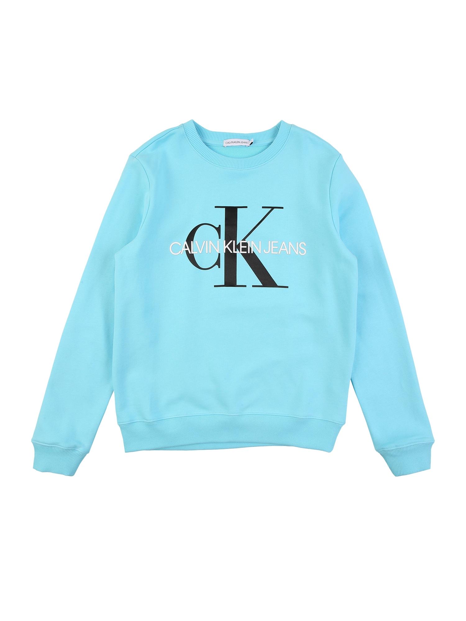 Calvin Klein Jeans Mikina  světlemodrá / bílá / černá