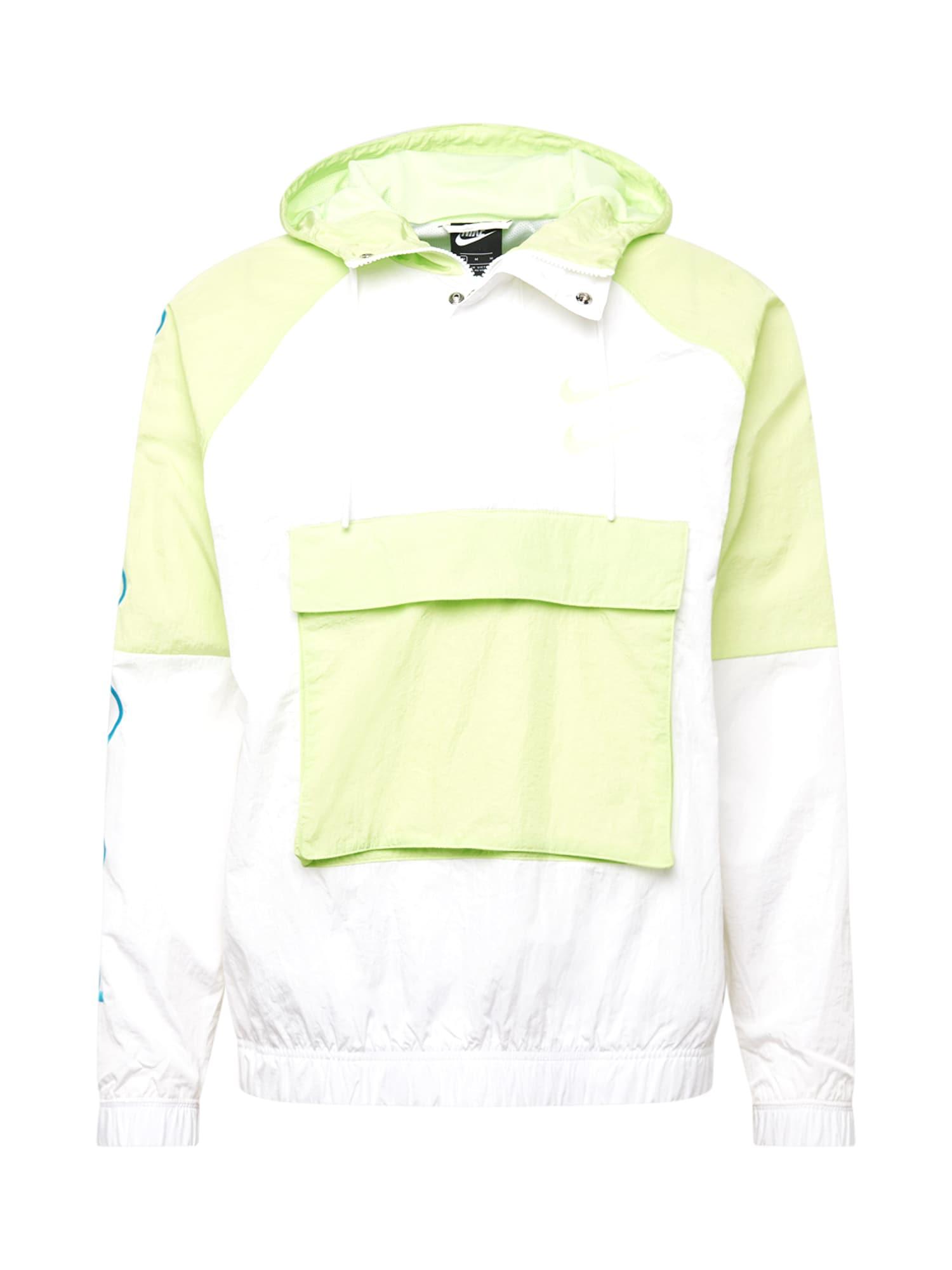 Nike Sportswear Funkční bunda 'Swoosh Woven'  bílá / modrá / jablko