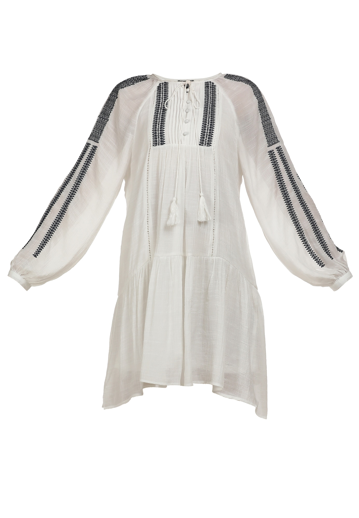 DreiMaster Vintage Palaidinės tipo suknelė balta / tamsiai mėlyna jūros spalva