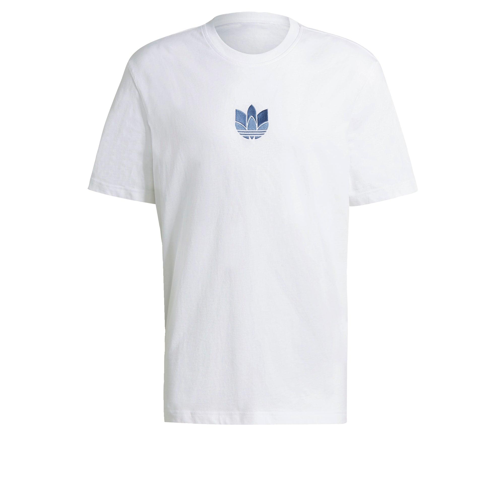 ADIDAS ORIGINALS Marškinėliai 'Adicolor 3D Trefoil' balta / mėlyna