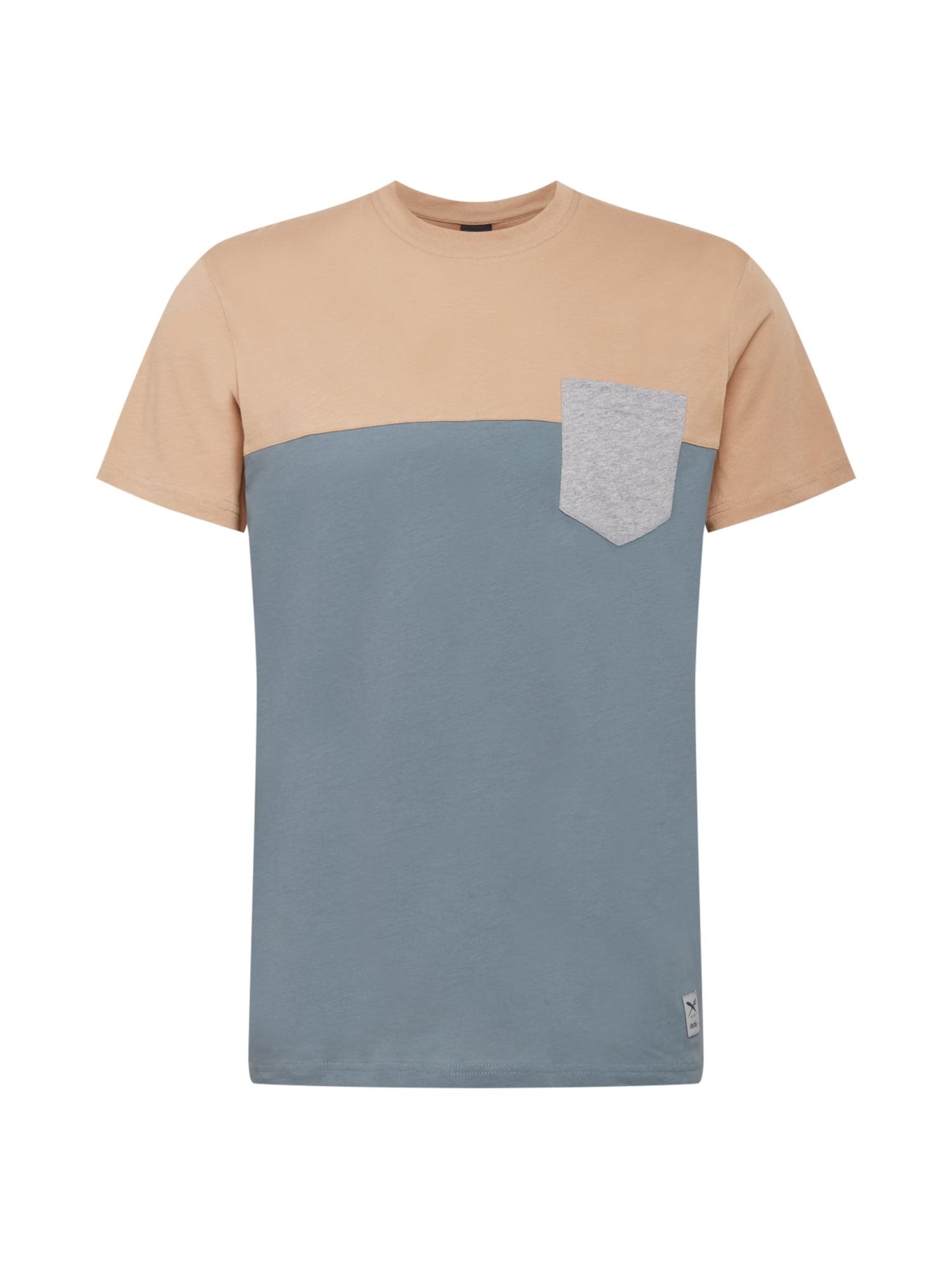 Iriedaily Marškinėliai melsvai pilka / margai pilka / gelsvai pilka spalva