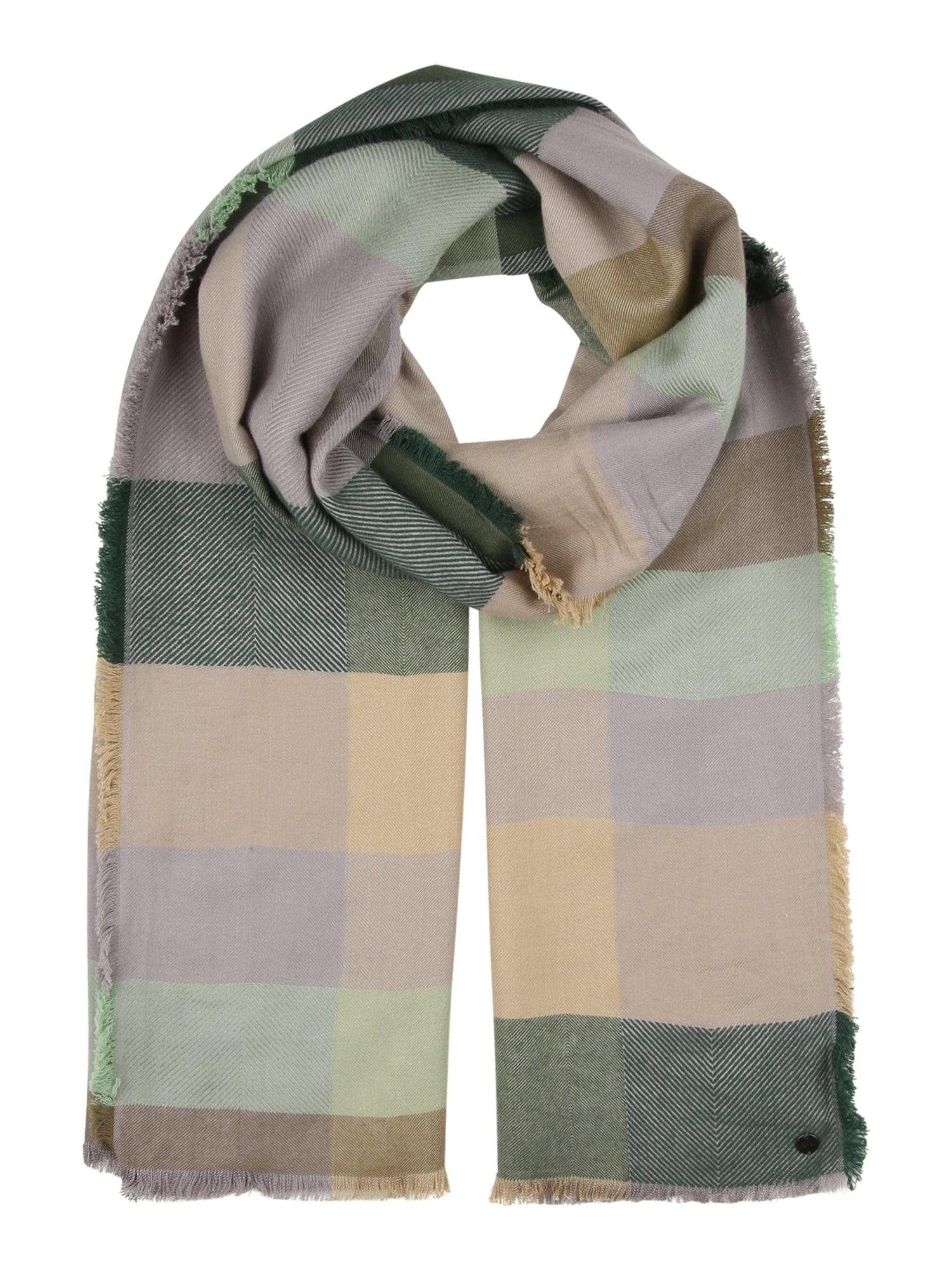 ESPRIT Šalikas tamsiai žalia / pastelinė žalia / alyvuogių spalva / pastelinė geltona / levandų spalva