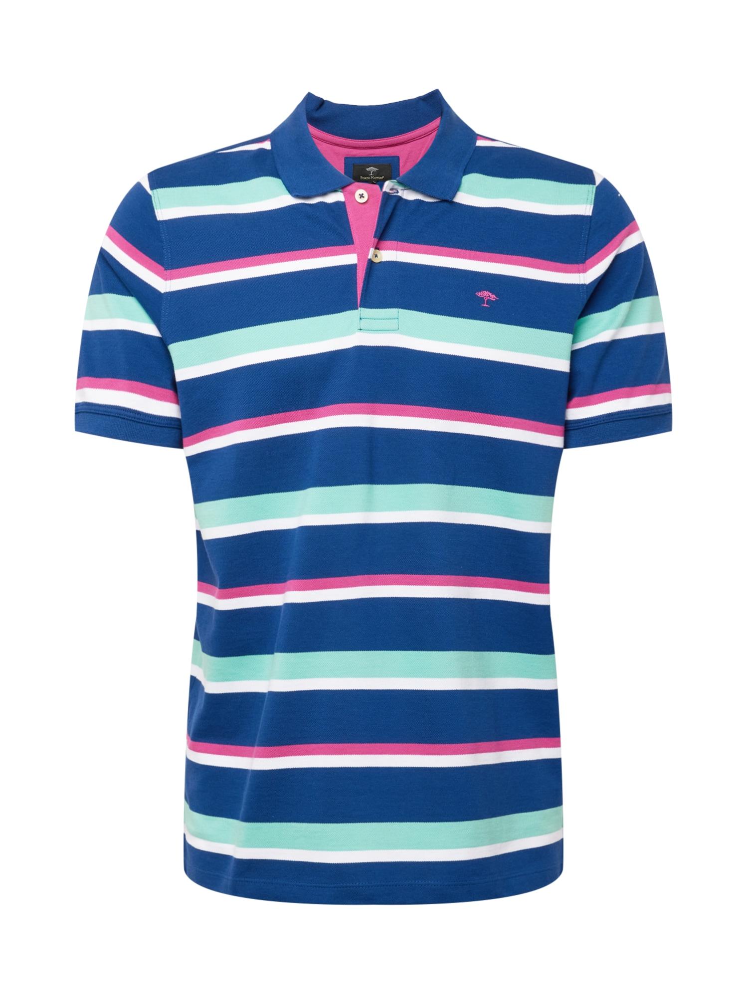 FYNCH-HATTON Marškinėliai tamsiai mėlyna / azuro spalva / rožinė / balta