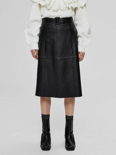 Selected Femme Folly hochtaillierter Leder-Midirock mit Gürtel