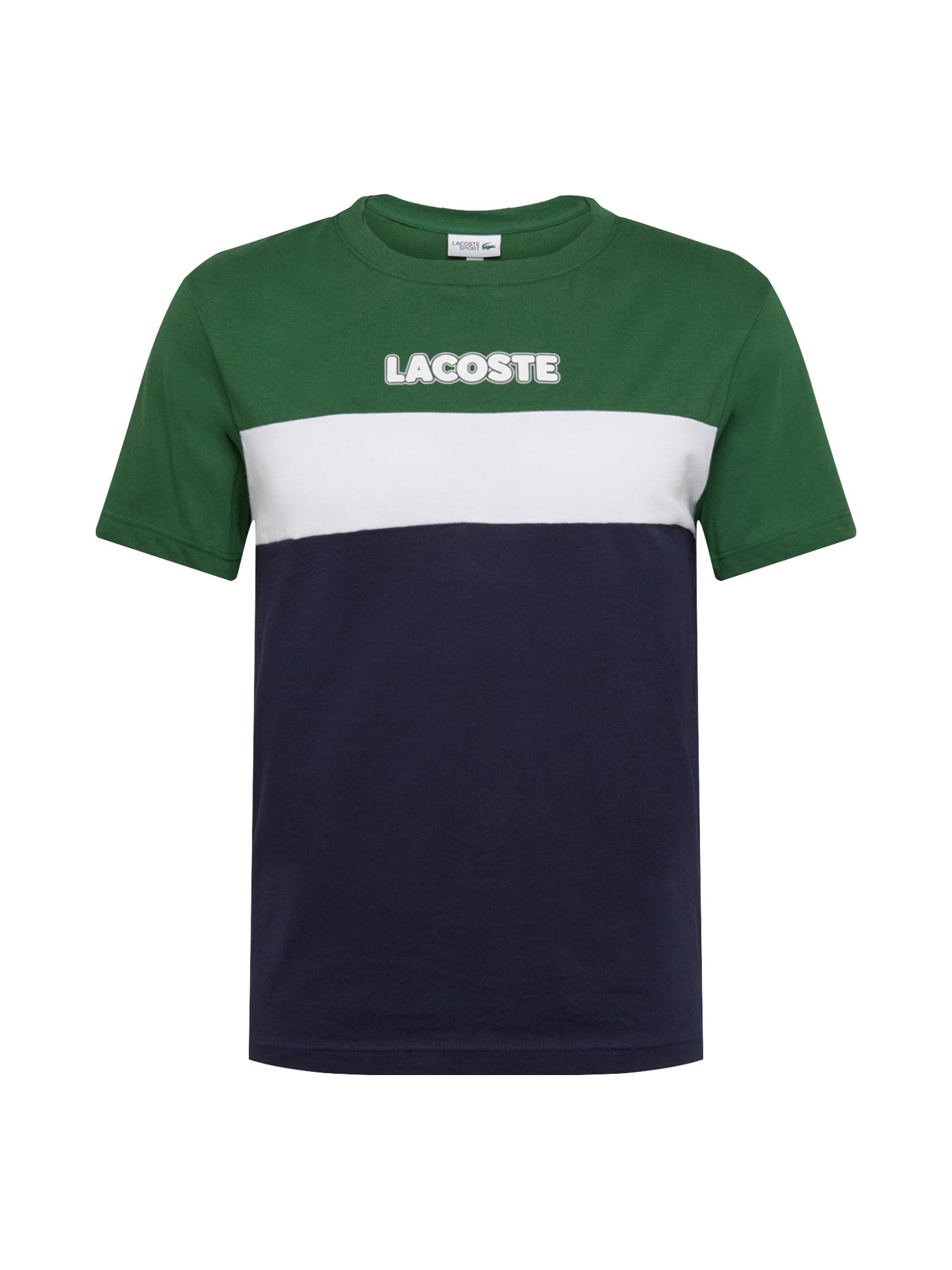 LACOSTE Marškinėliai balta / smaragdinė spalva / tamsiai mėlyna