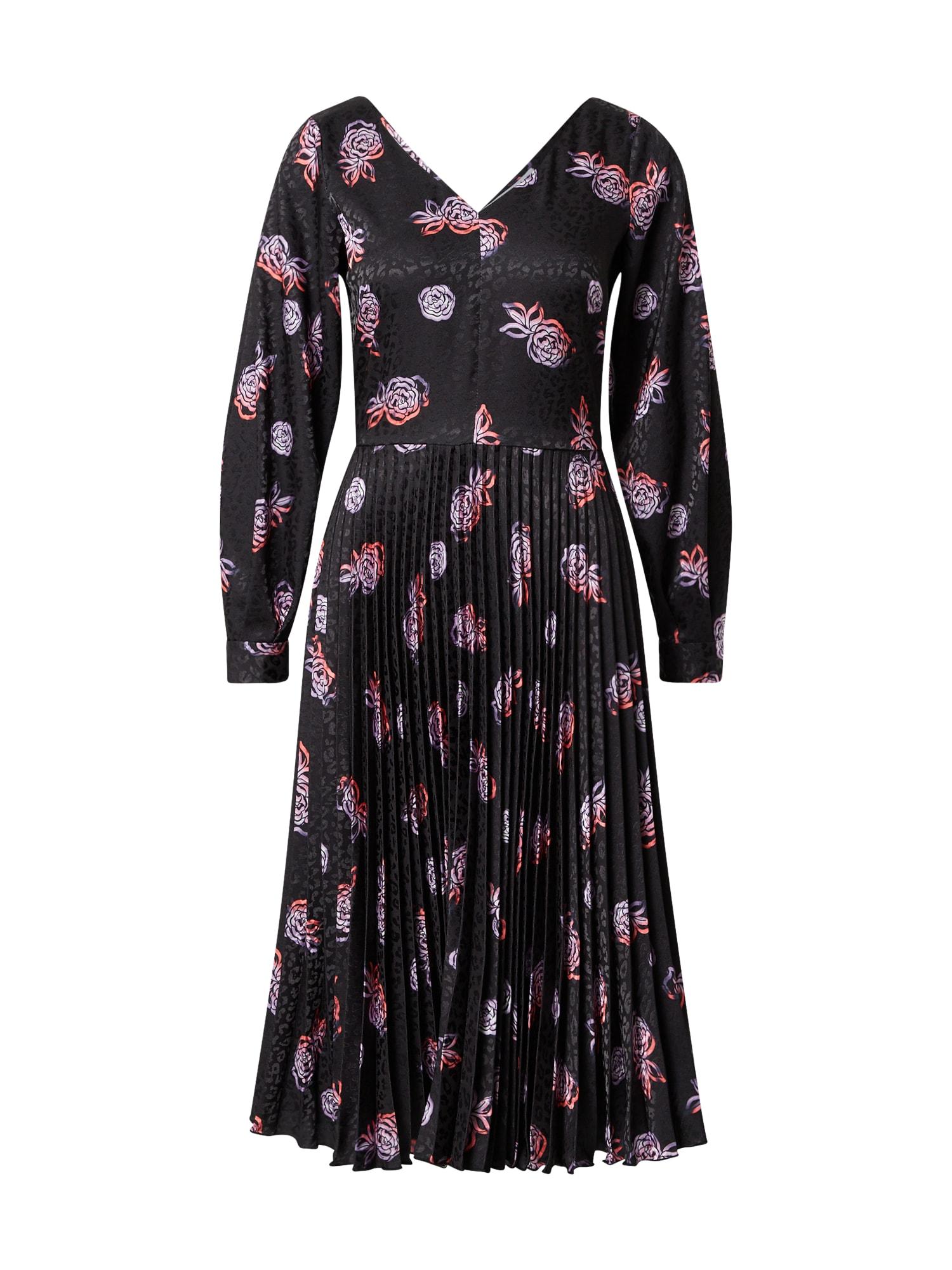 Closet London Kokteilinė suknelė juoda / purpurinė / lašišų spalva