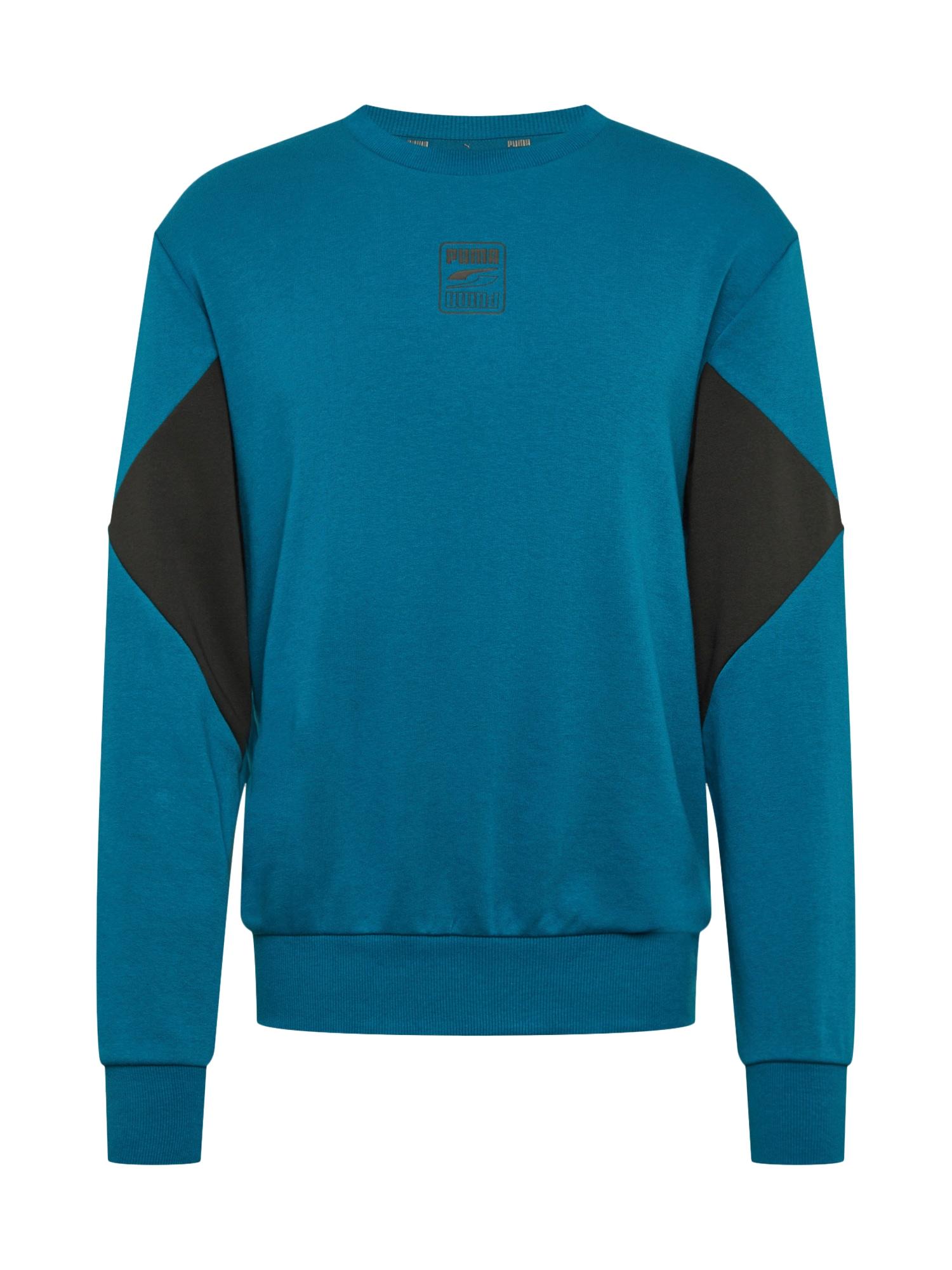 PUMA Sportinio tipo megztinis dangaus žydra / juoda
