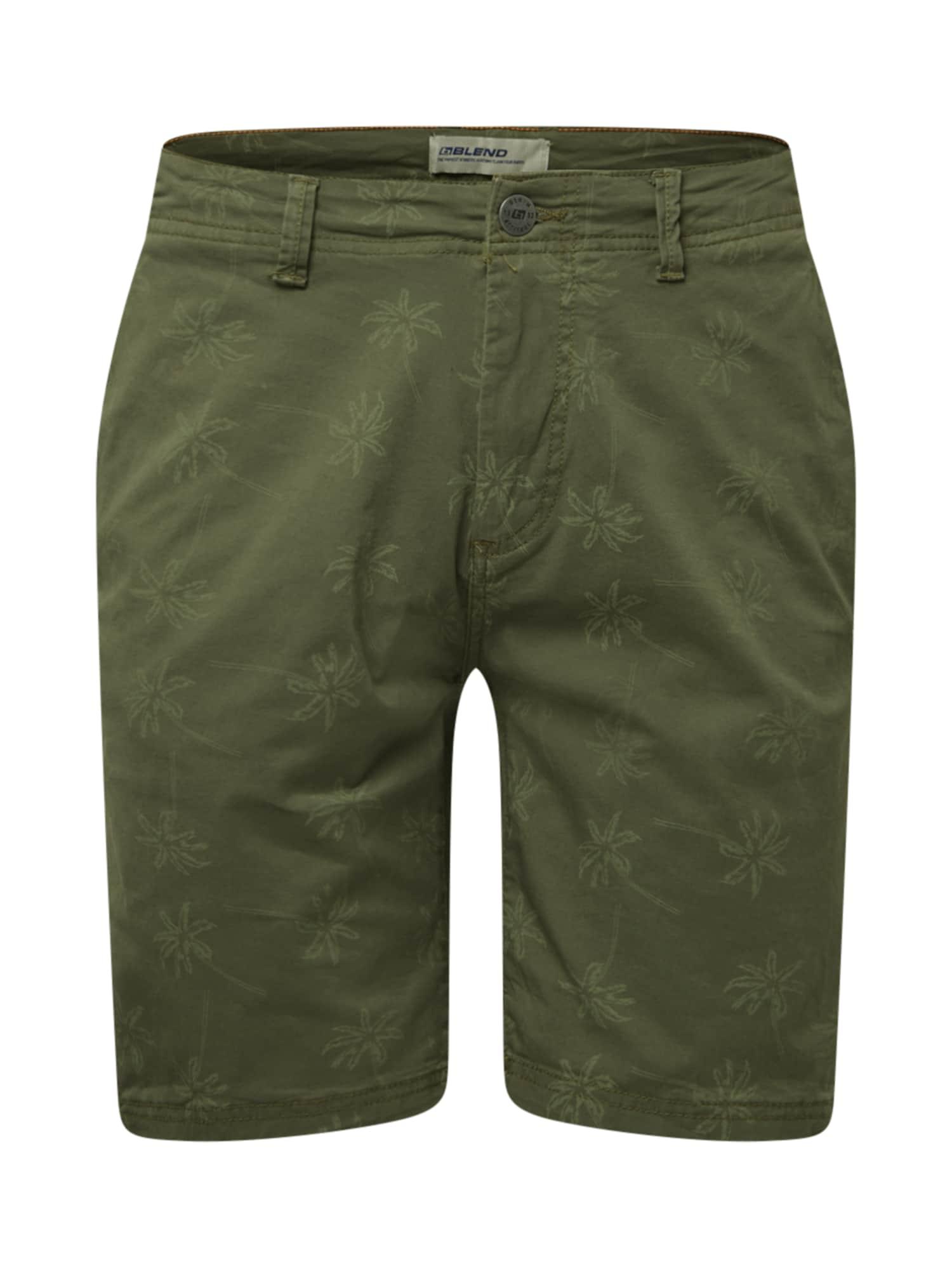 BLEND Kelnės mišrios spalvos / tamsiai žalia