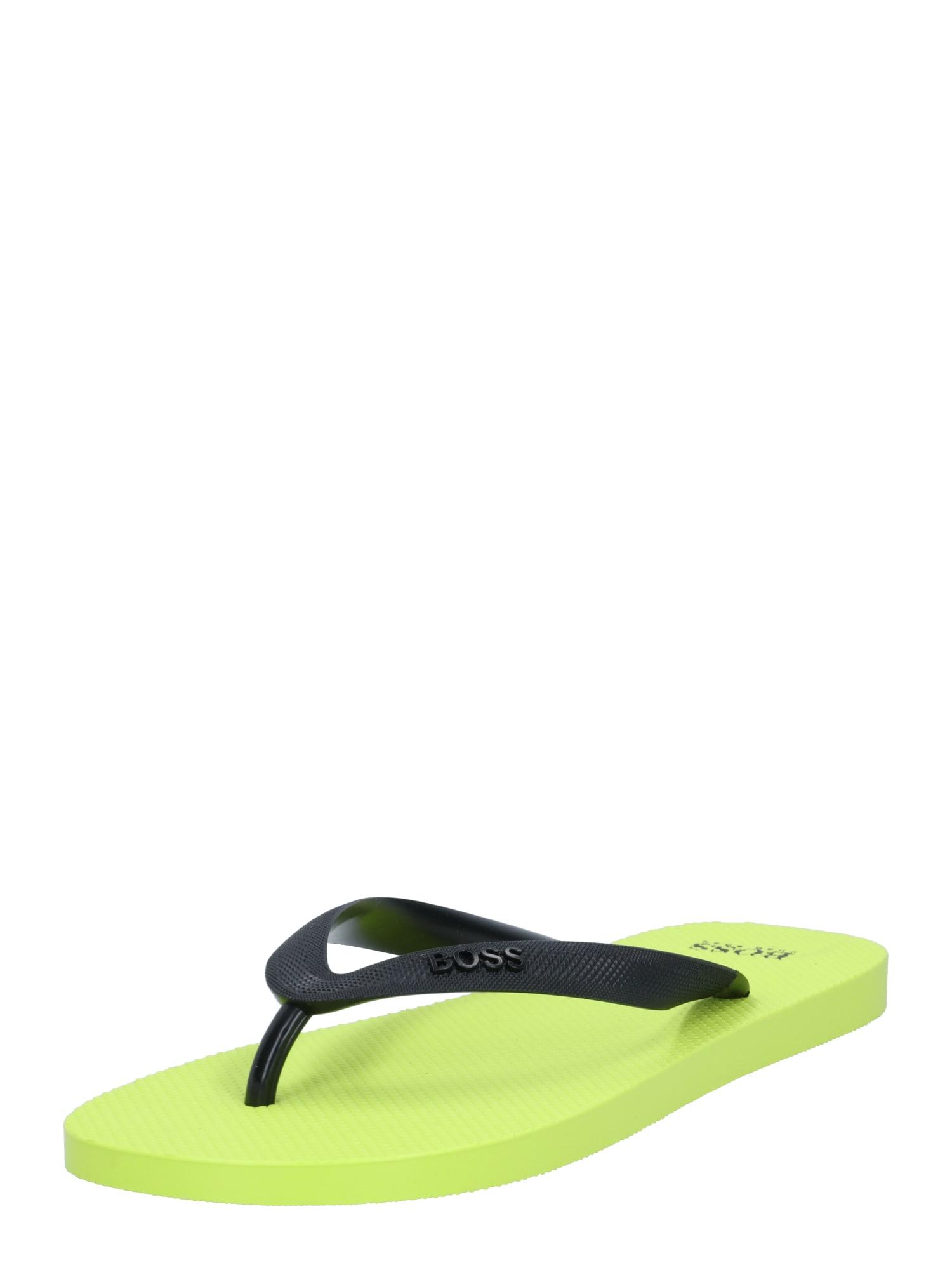 BOSS Šlepetės per pirštą neoninė žalia / juoda