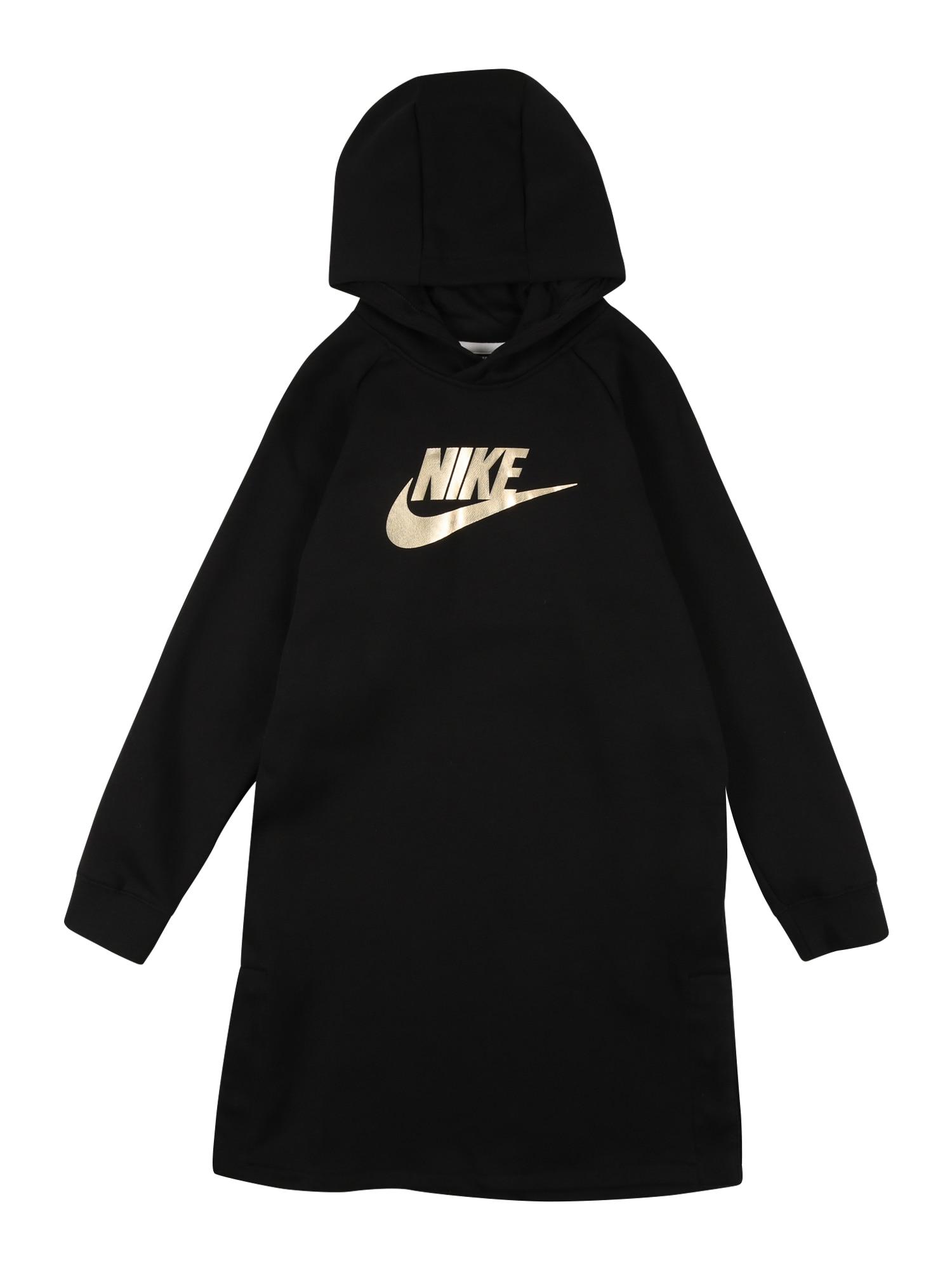 Nike Sportswear Šaty  zlatá / černá