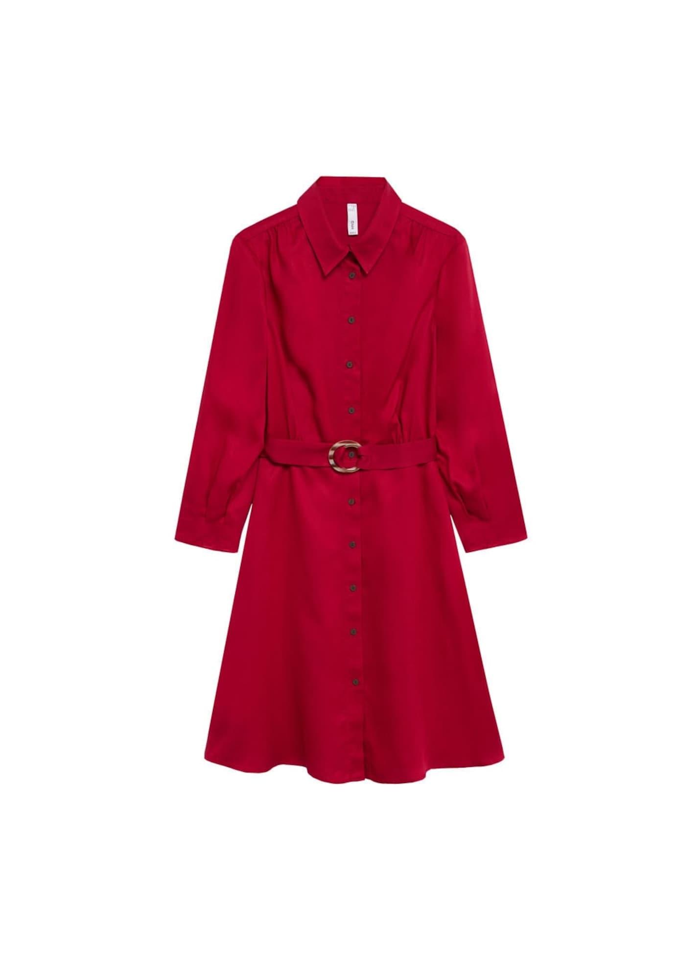 MANGO Košilové šaty 'Cros'  rubínově červená