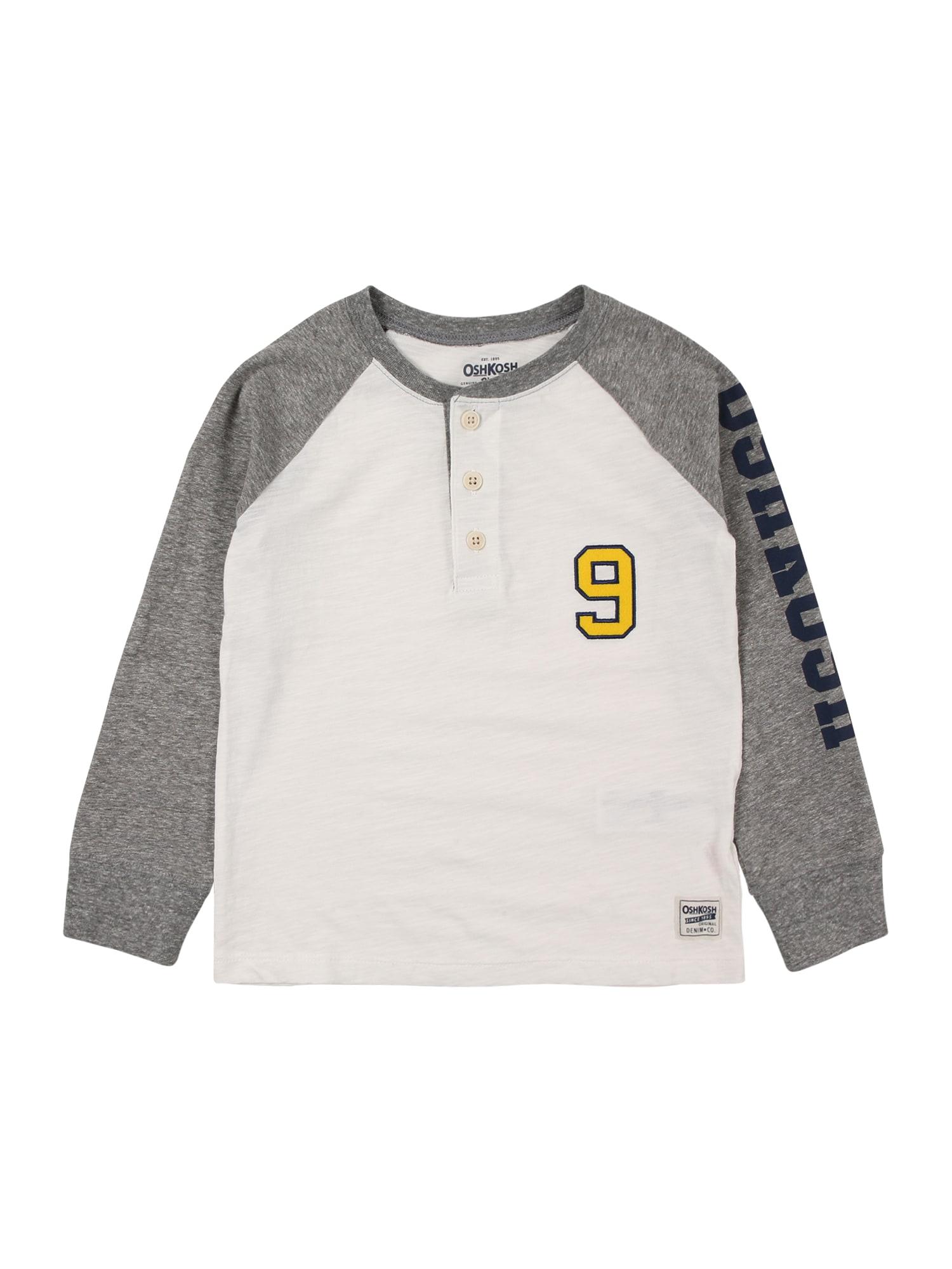 OshKosh Marškinėliai balta / pilka / geltona / tamsiai mėlyna