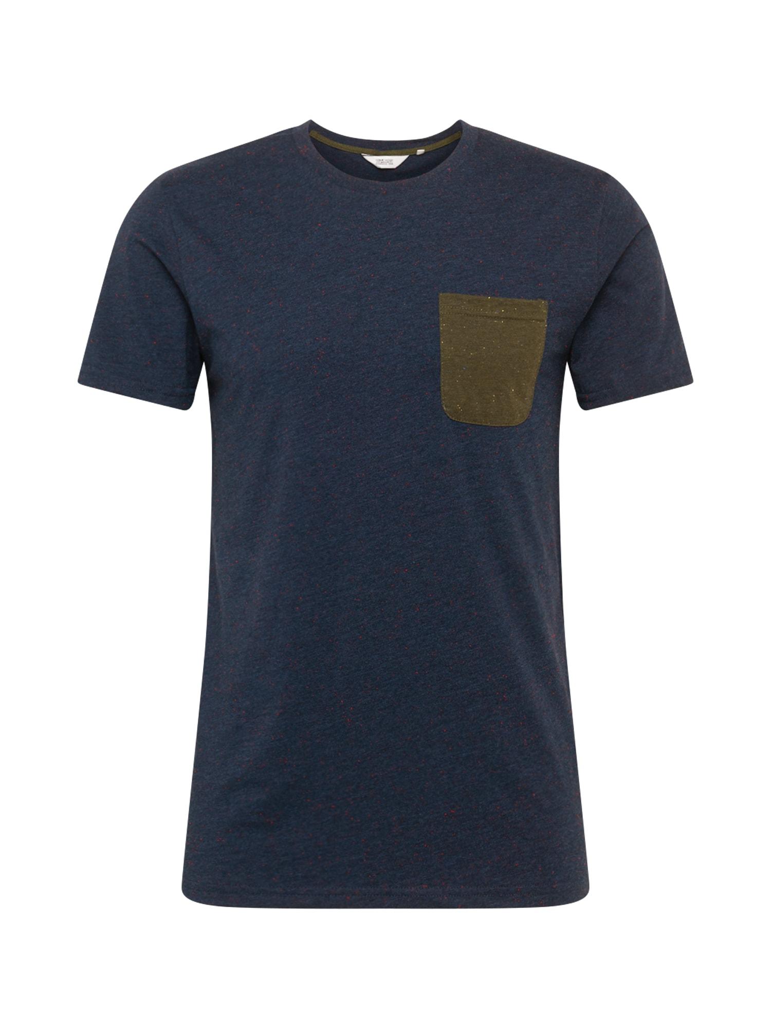 !Solid Marškinėliai tamsiai mėlyna / rusvai žalia