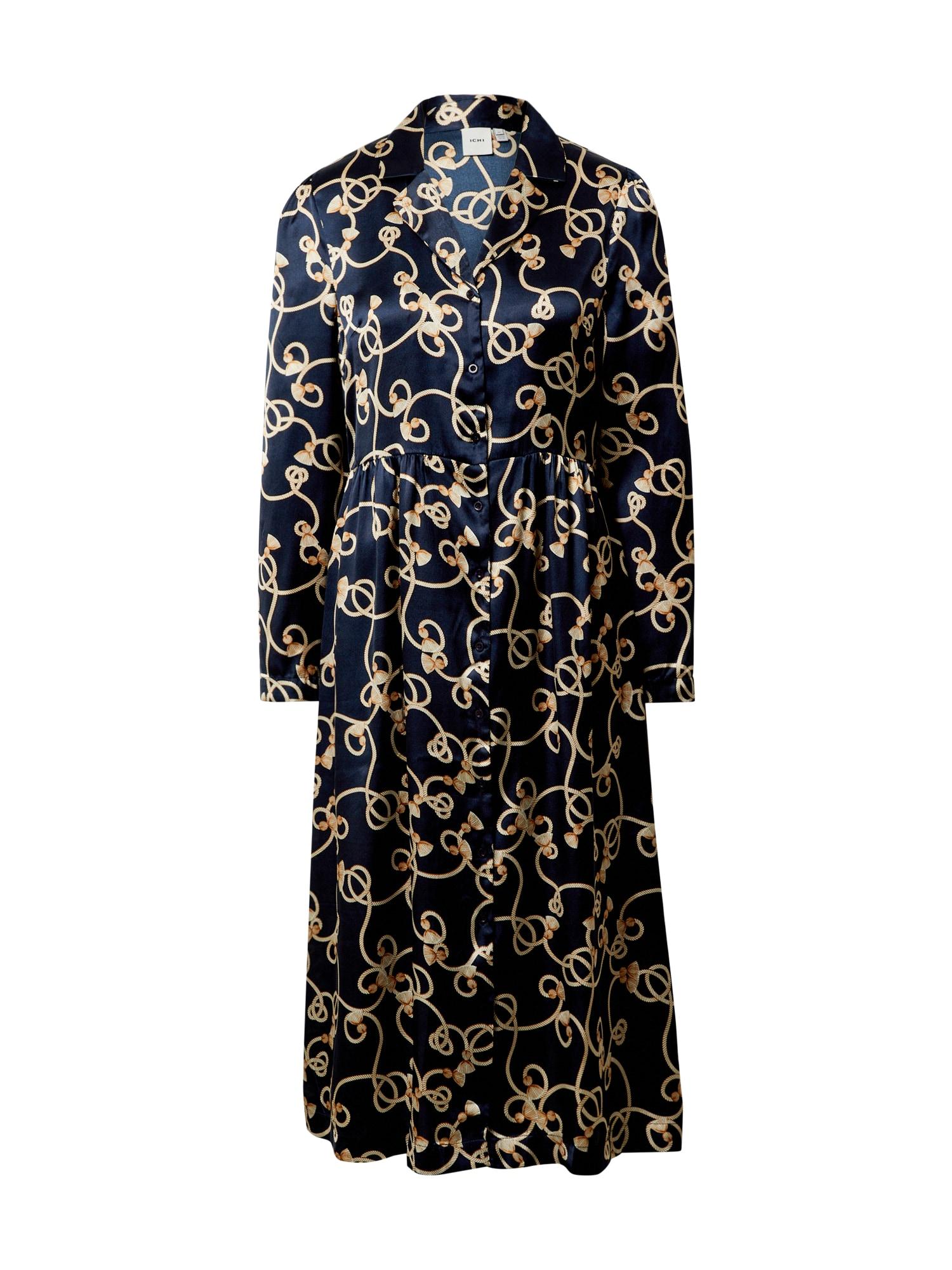 ICHI Palaidinės tipo suknelė tamsiai mėlyna / geltona