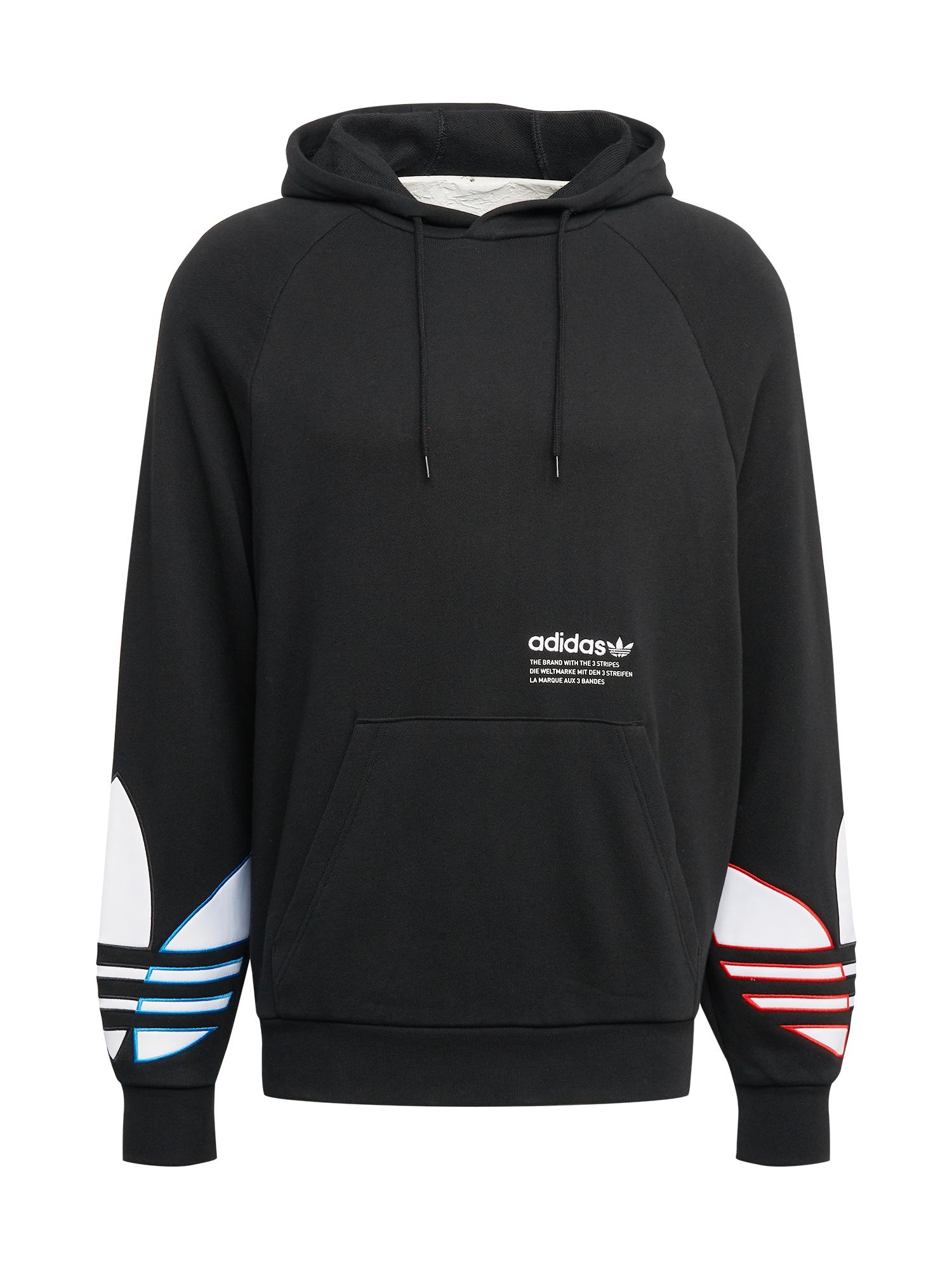 ADIDAS ORIGINALS Megztinis be užsegimo juoda / balta / šviesiai raudona / mėlyna