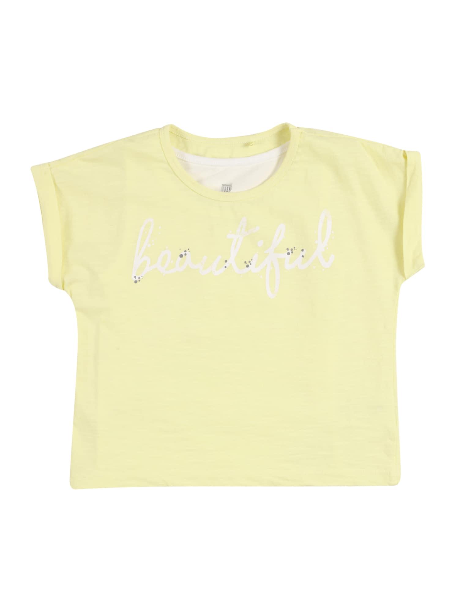 BASEFIELD Marškinėliai šviesiai geltona / balta / tamsiai pilka
